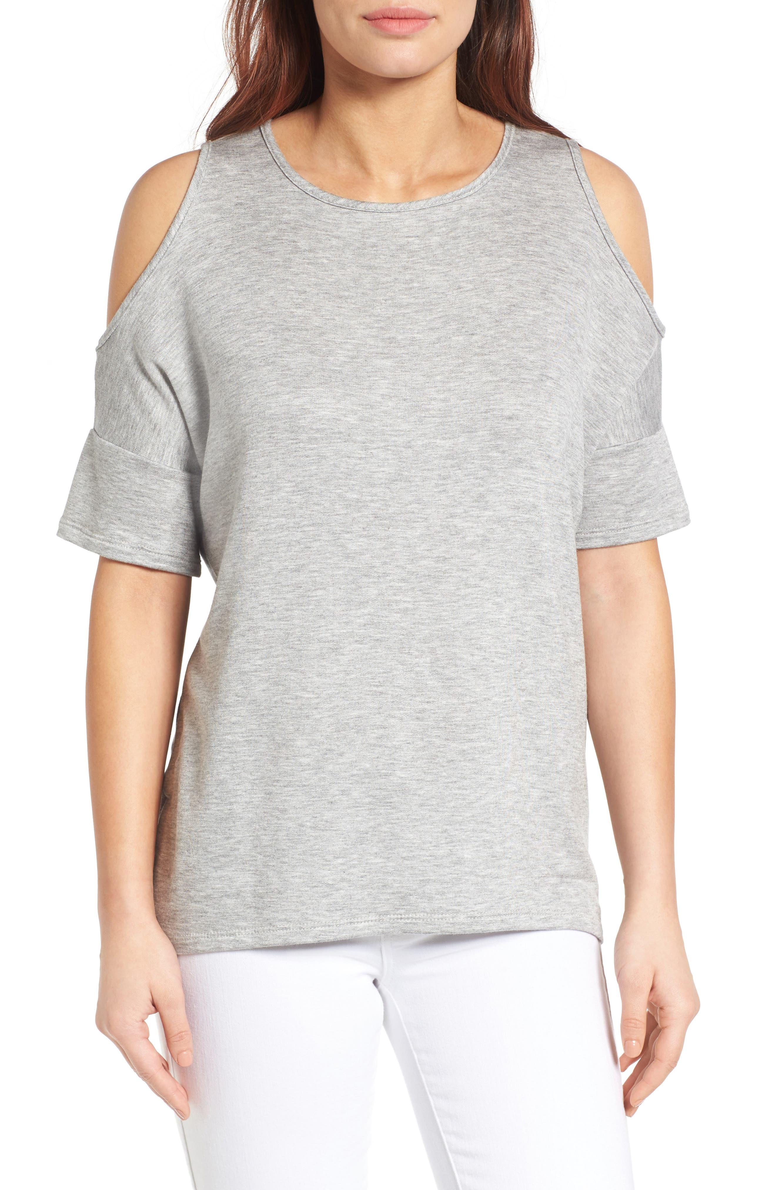 High/Low Cold Shoulder Sweatshirt,                             Main thumbnail 1, color,