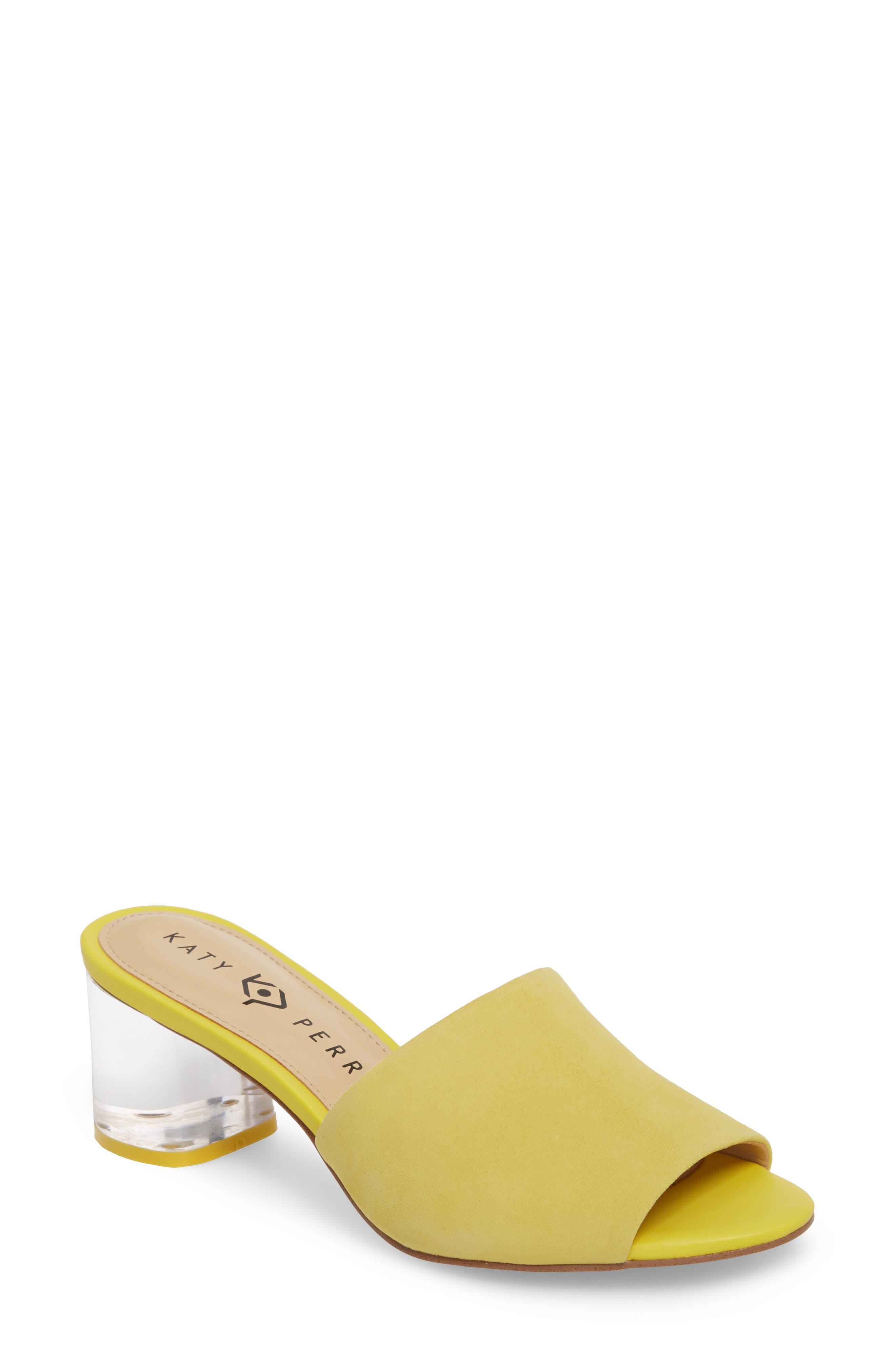 The Kaitlynn Slide Sandal,                             Main thumbnail 1, color,                             YELLOW SUEDE