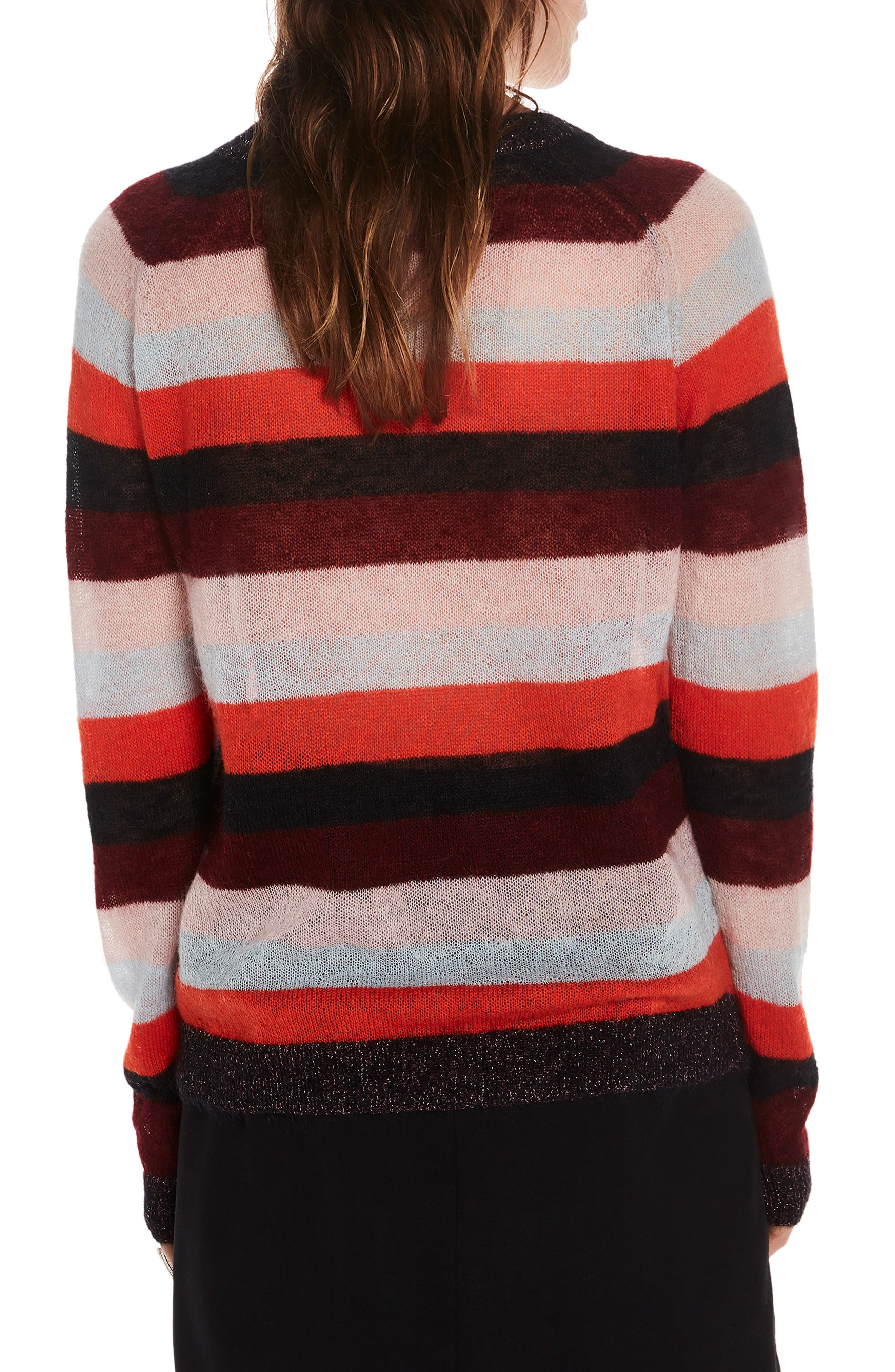Stripe Sweater,                             Alternate thumbnail 2, color,                             ORANGE BURGUNDY LT BLUE STRIPE