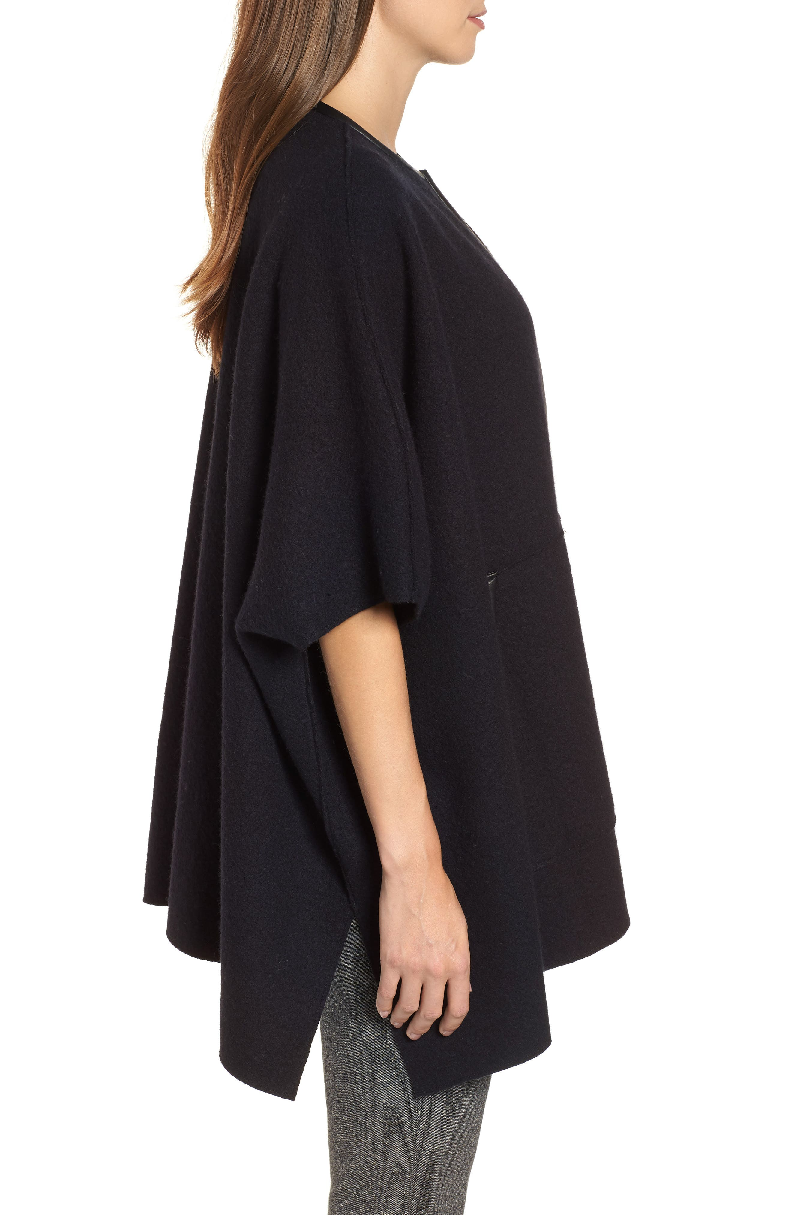 Boiled Wool Poncho Jacket with Leather Trim,                             Alternate thumbnail 3, color,                             BLACK