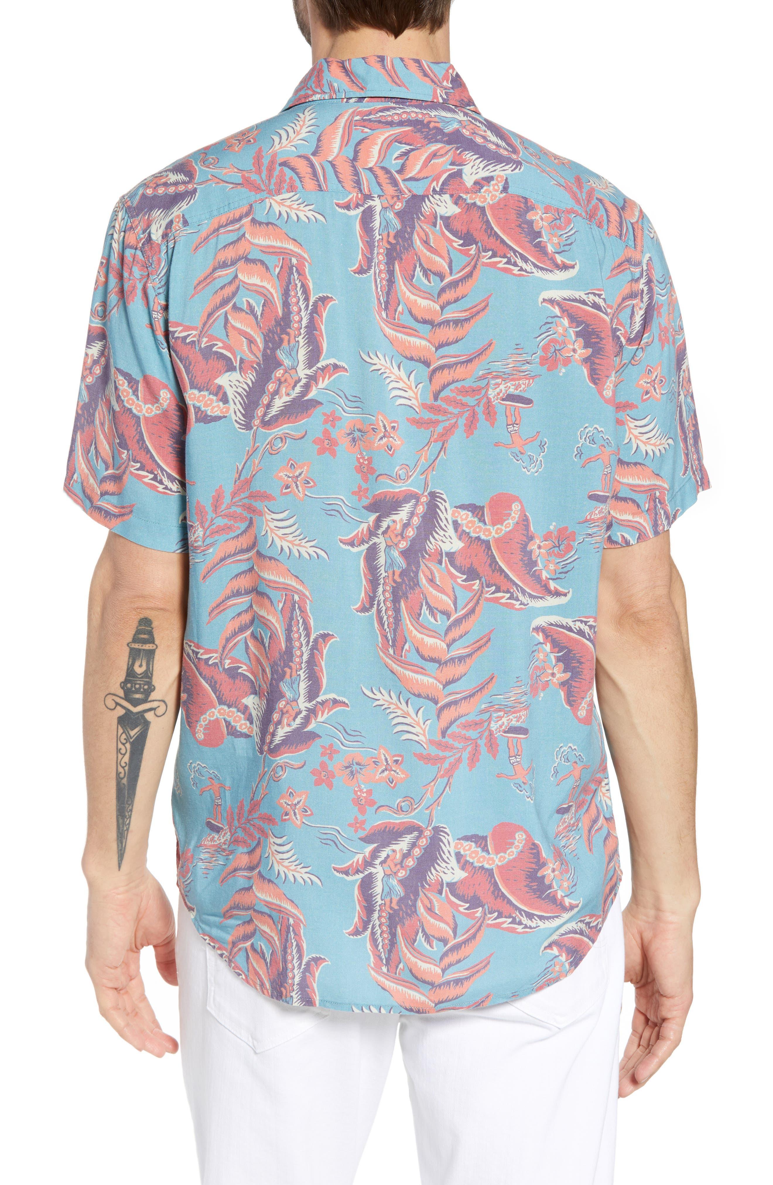 Hawaiian Print Sport Shirt,                             Alternate thumbnail 2, color,                             440