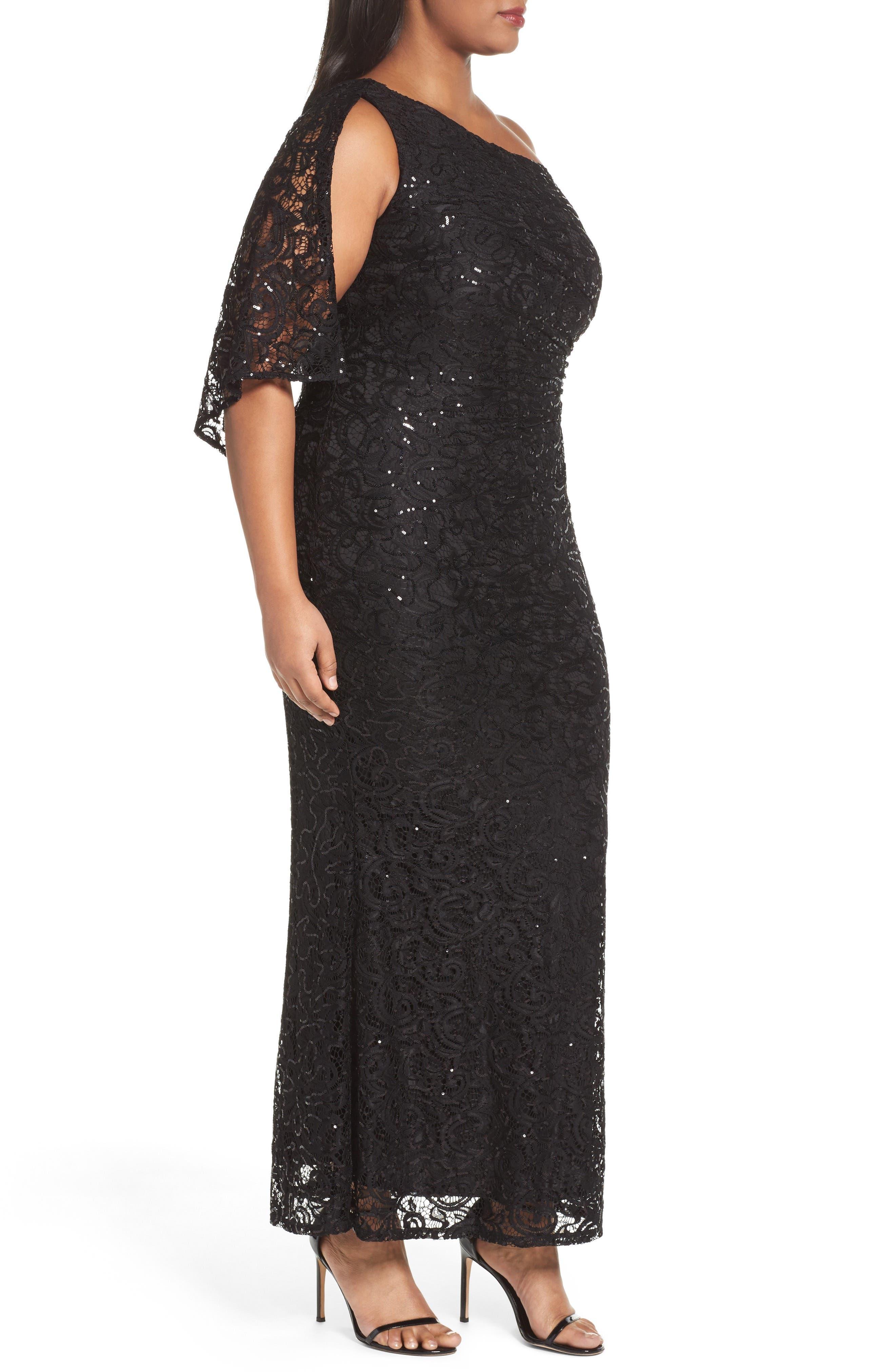Sequin Lace One-Shoulder Gown,                             Alternate thumbnail 3, color,                             001