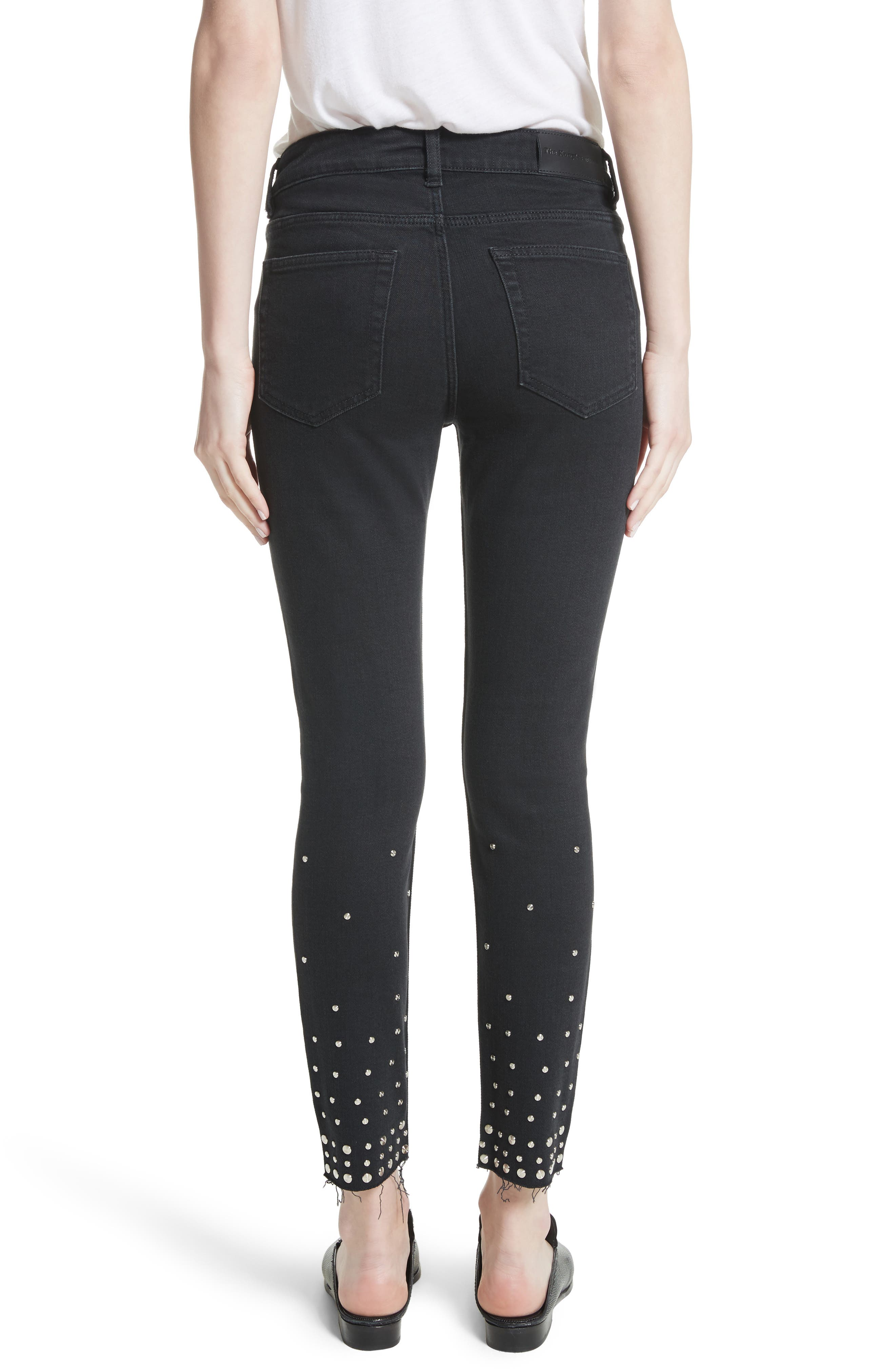 Studded Crop Skinny Jeans,                             Alternate thumbnail 2, color,                             001