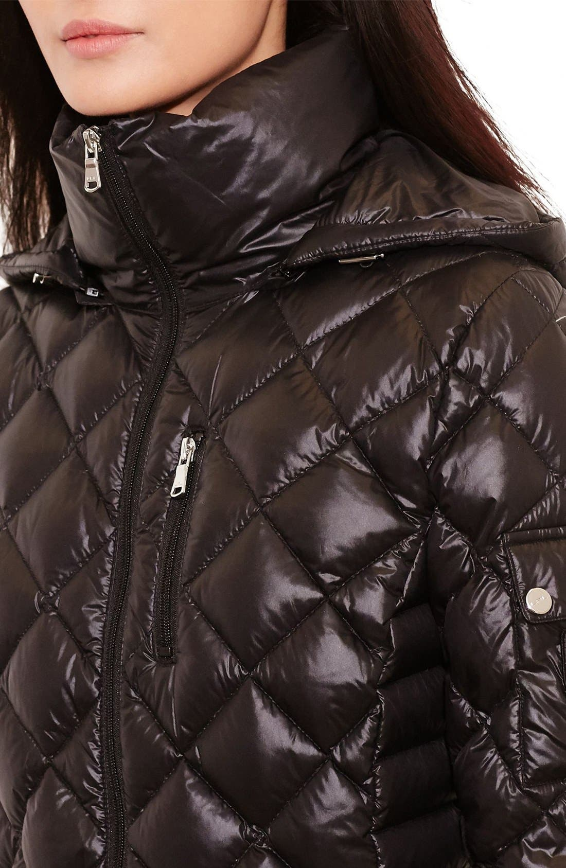 Packable Quilted Down Coat,                             Alternate thumbnail 3, color,                             BLACK