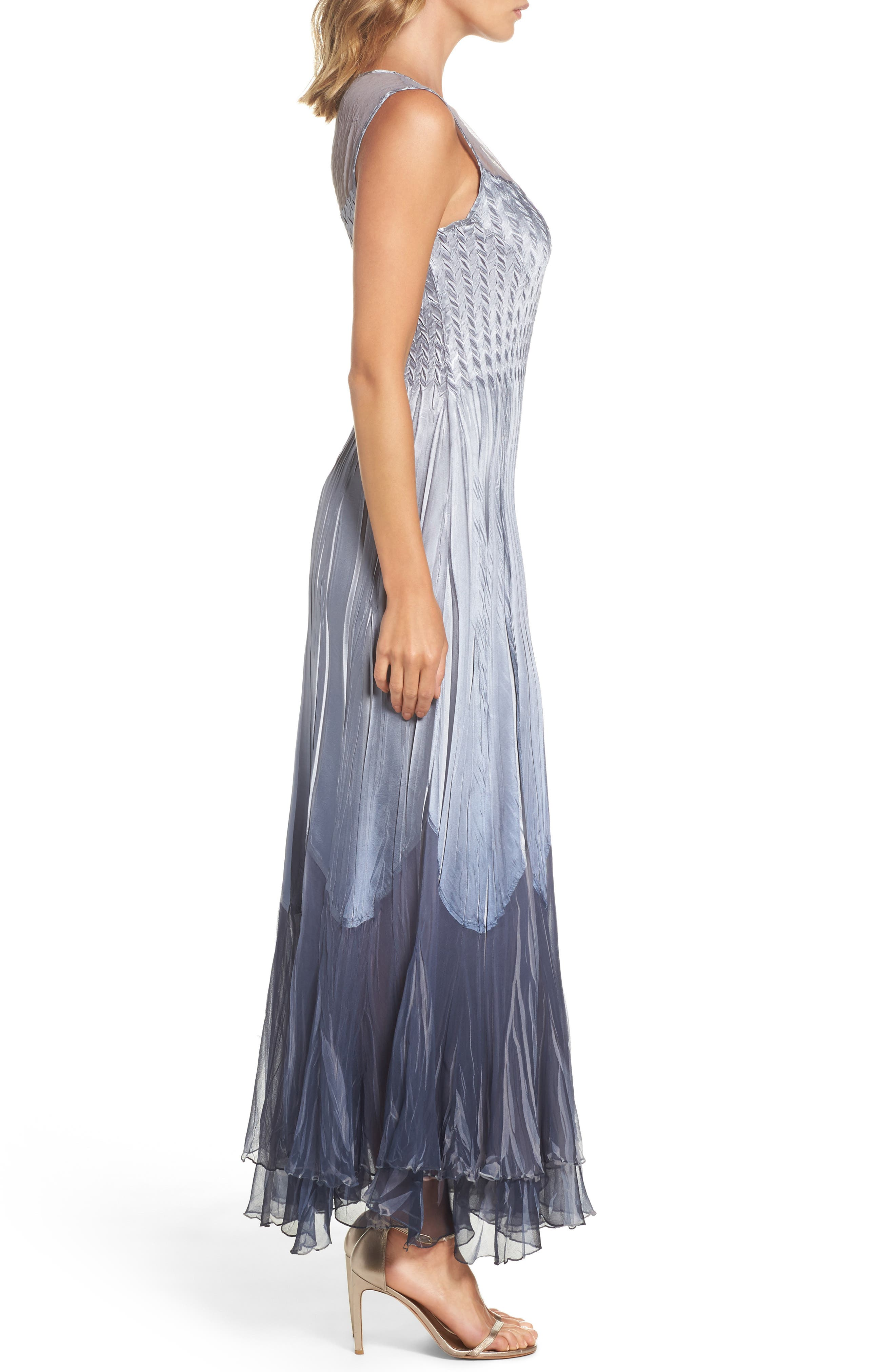 Ombré Tiered A-Line Maxi Dress with Shawl,                             Alternate thumbnail 3, color,                             404