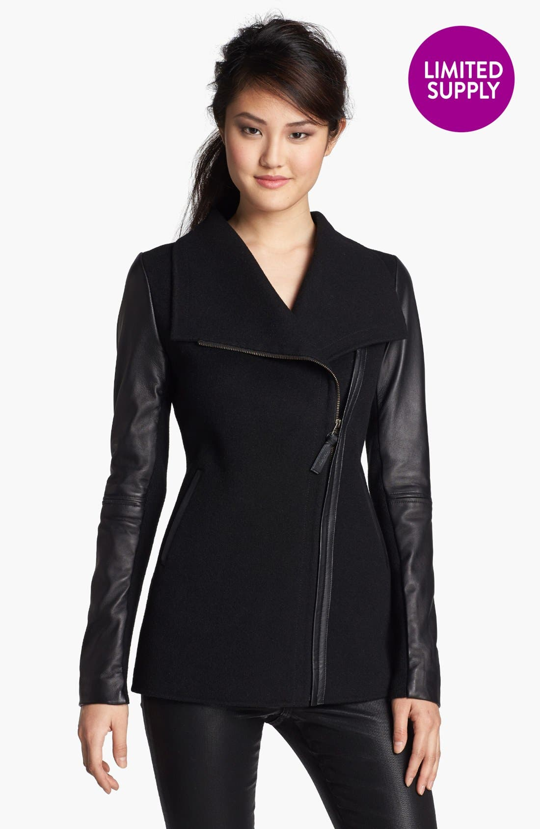 Asymmetrical Zip Mixed Media Coat,                         Main,                         color,