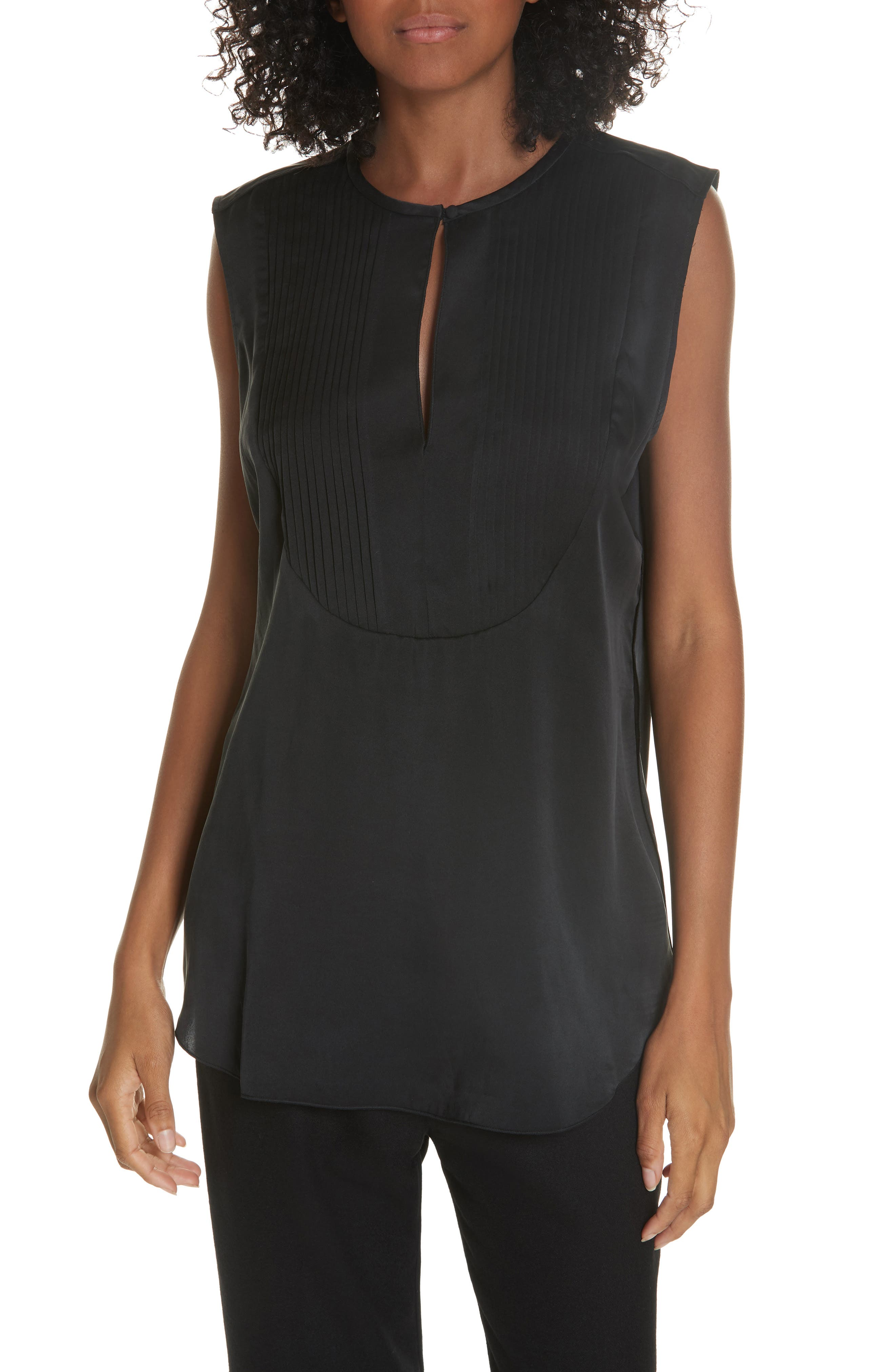 Vienna Pintucked Satin Top in Black from EQUIPMENT