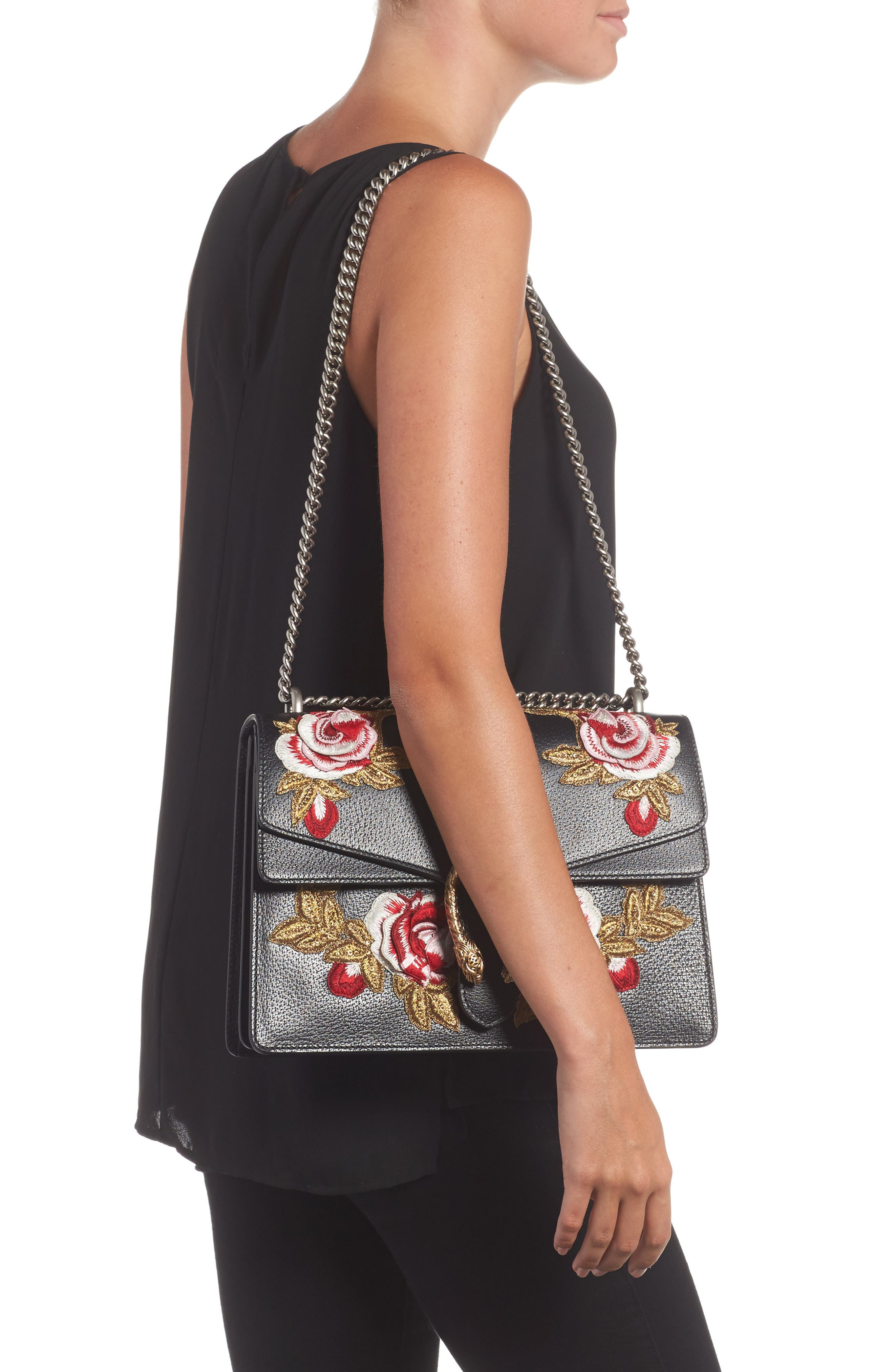 Medium Dionysus Embroidered Roses Leather Shoulder Bag,                             Alternate thumbnail 2, color,                             NERO/MULTI