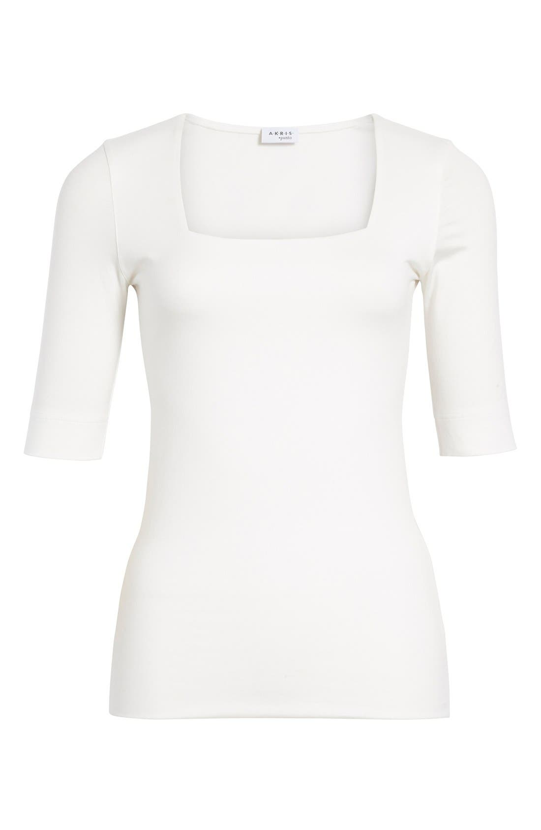 Square Neck Jersey Tee,                             Alternate thumbnail 5, color,                             OFF WHITE