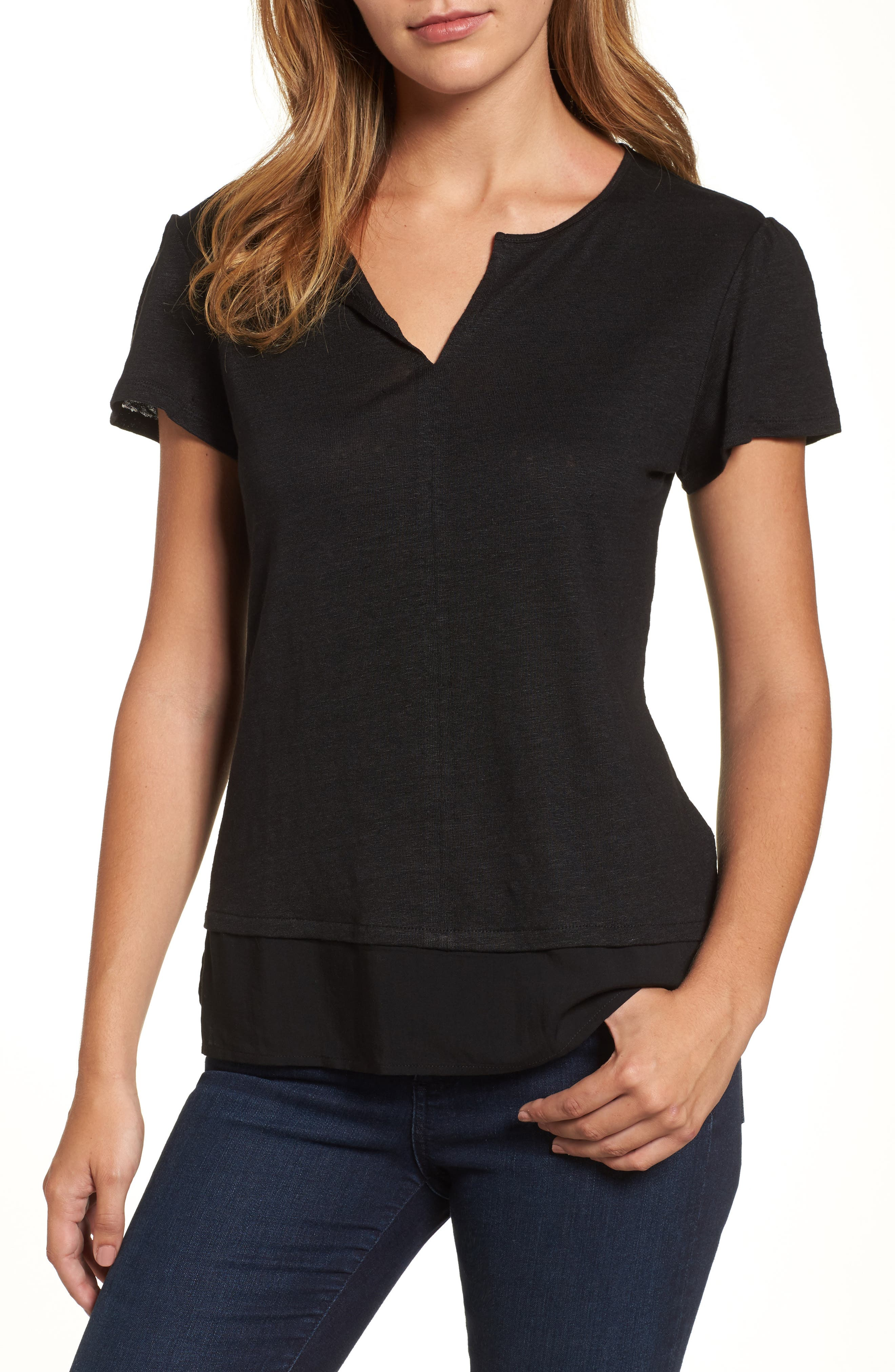 Uptown Tiered Hem Linen Tee,                             Main thumbnail 1, color,                             BLACK