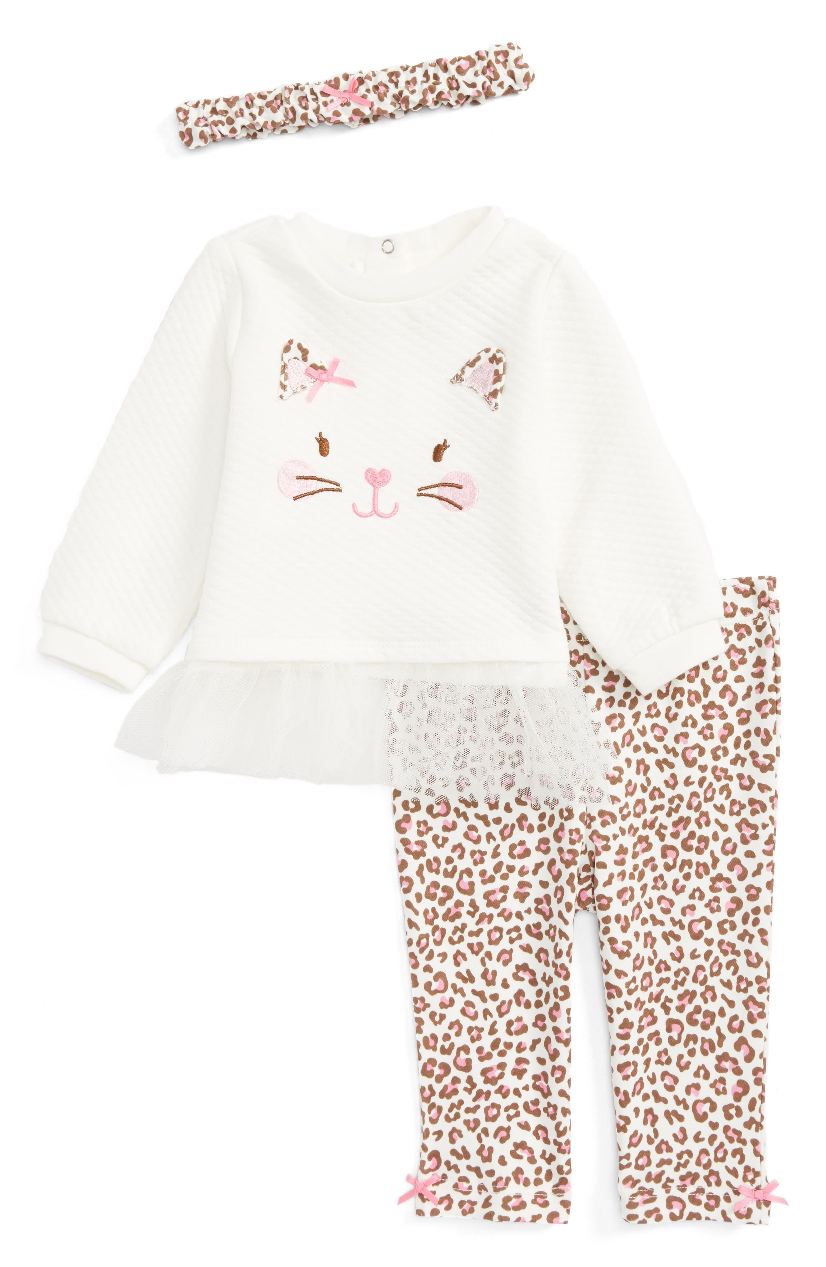 Leopard Tunic, Leggings & Headband Set,                         Main,                         color, 900