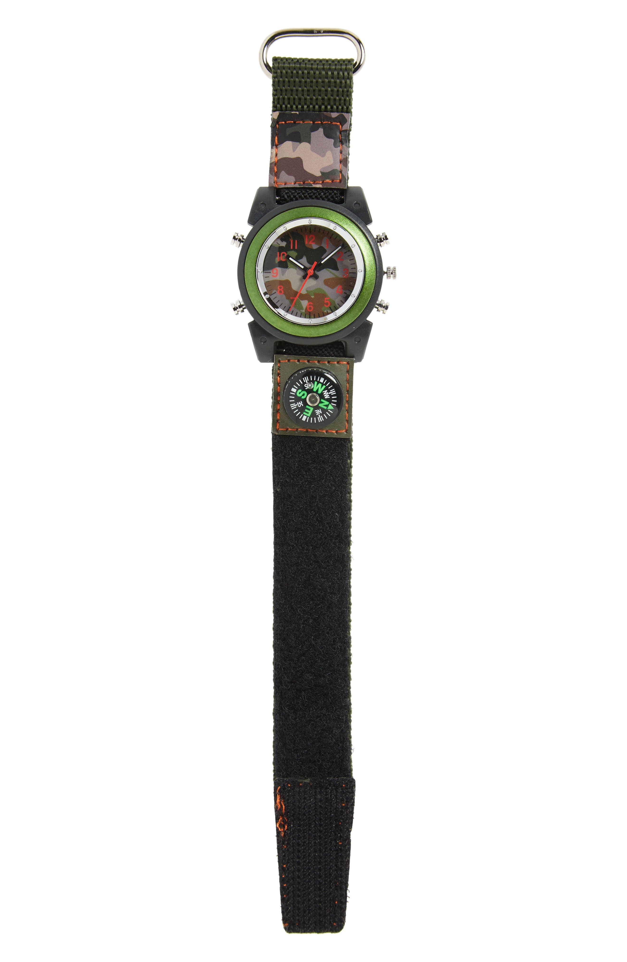 Boys Accutime Camo Hook  Loop Watch