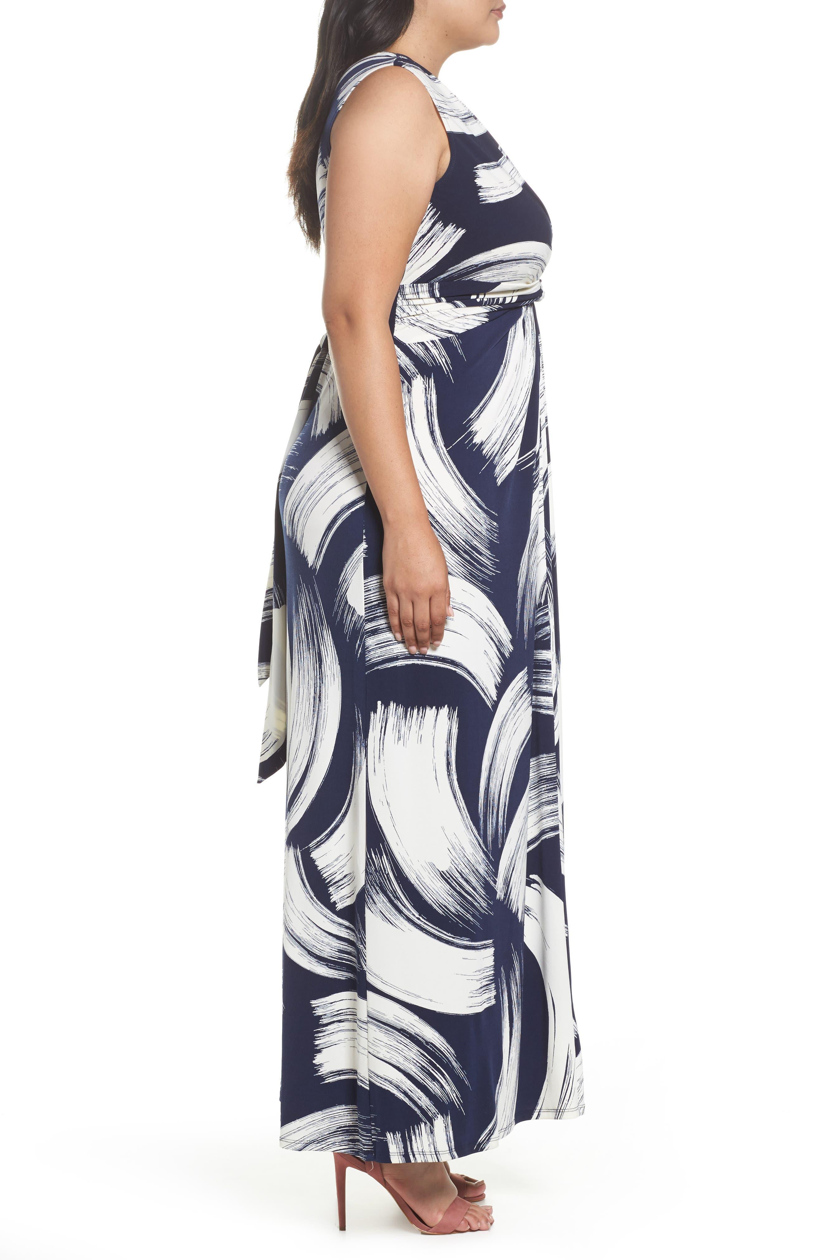 Brush Print Jersey Maxi Dress,                             Alternate thumbnail 3, color,                             407