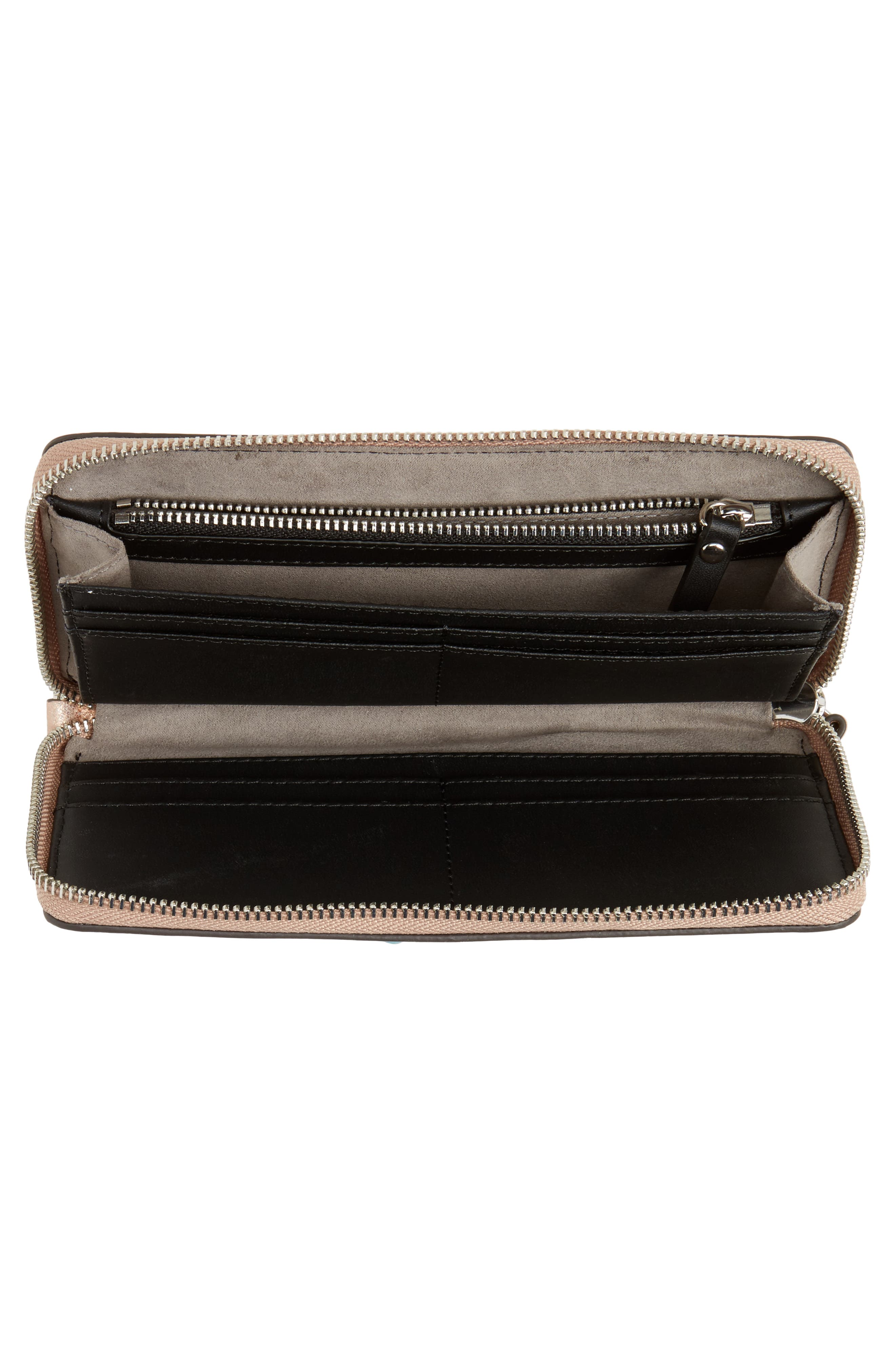 Taz Leather Zip Around Wallet,                             Alternate thumbnail 4, color,                             ROSE GOLD