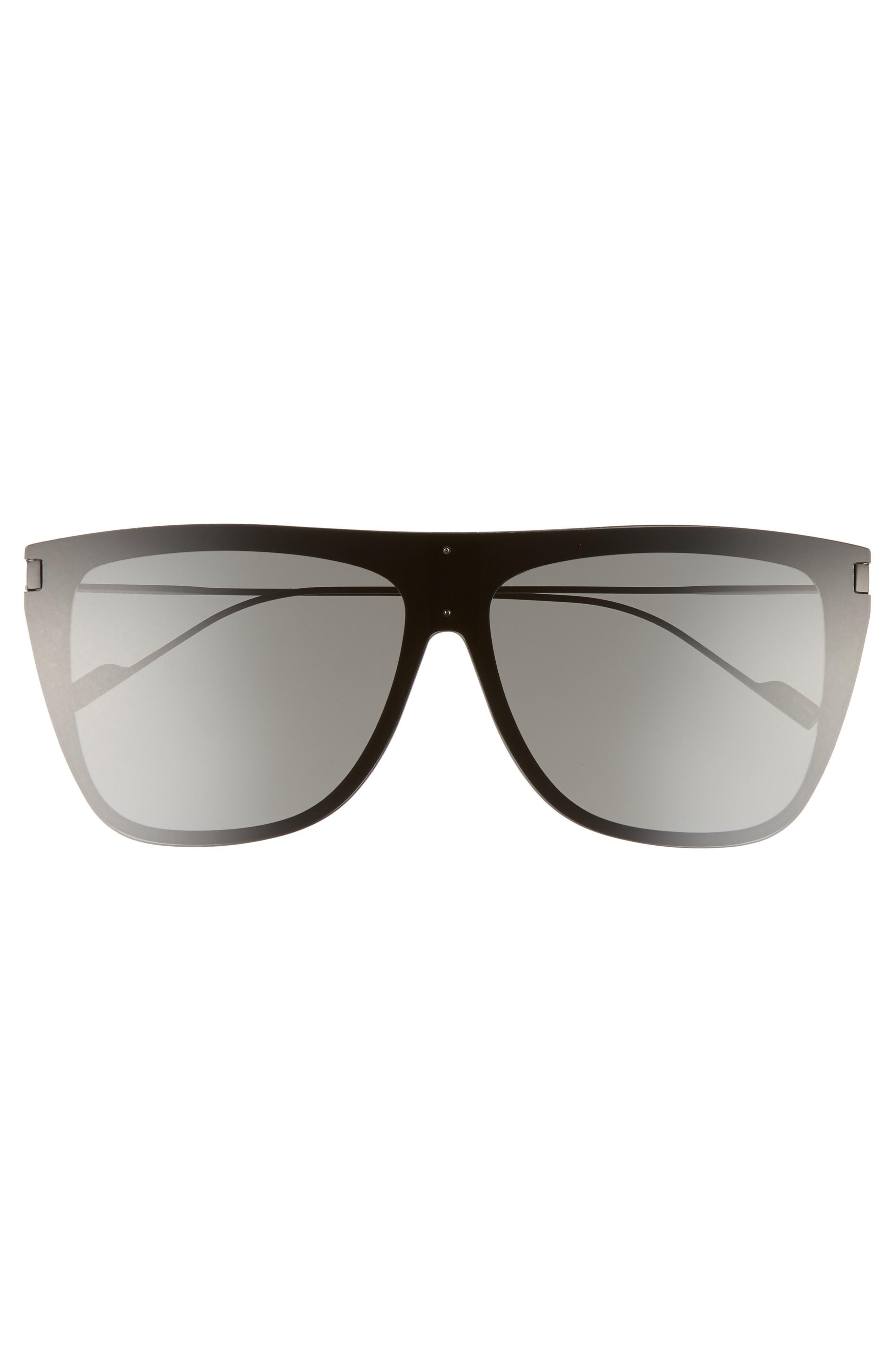 SAINT LAURENT,                             SL 1 T 59mm Flat Top Sunglasses,                             Alternate thumbnail 2, color,                             BLACK