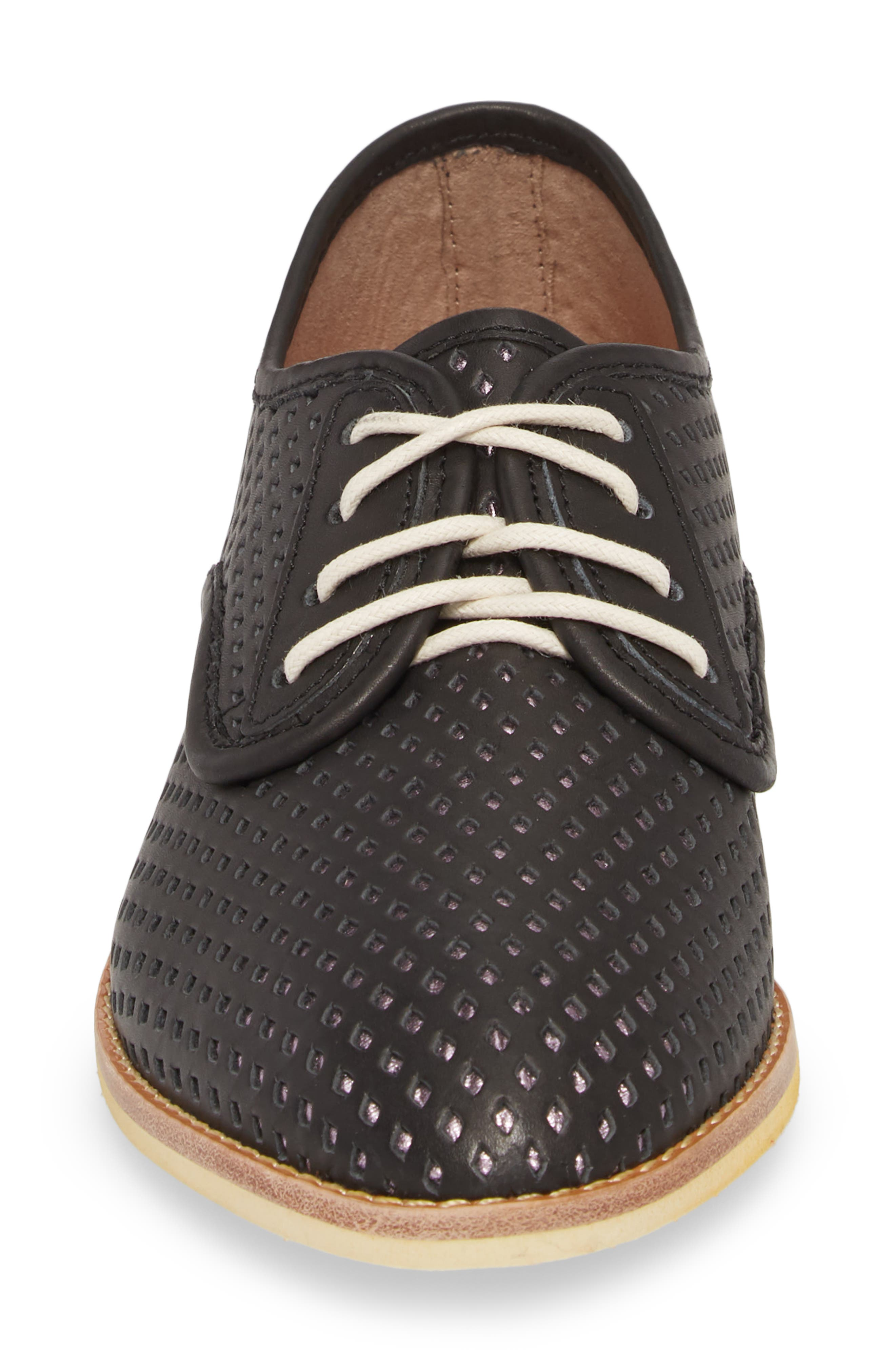 Punch Perforated Derby,                             Alternate thumbnail 4, color,                             BLACK/ ROSE GOLD LEATHER