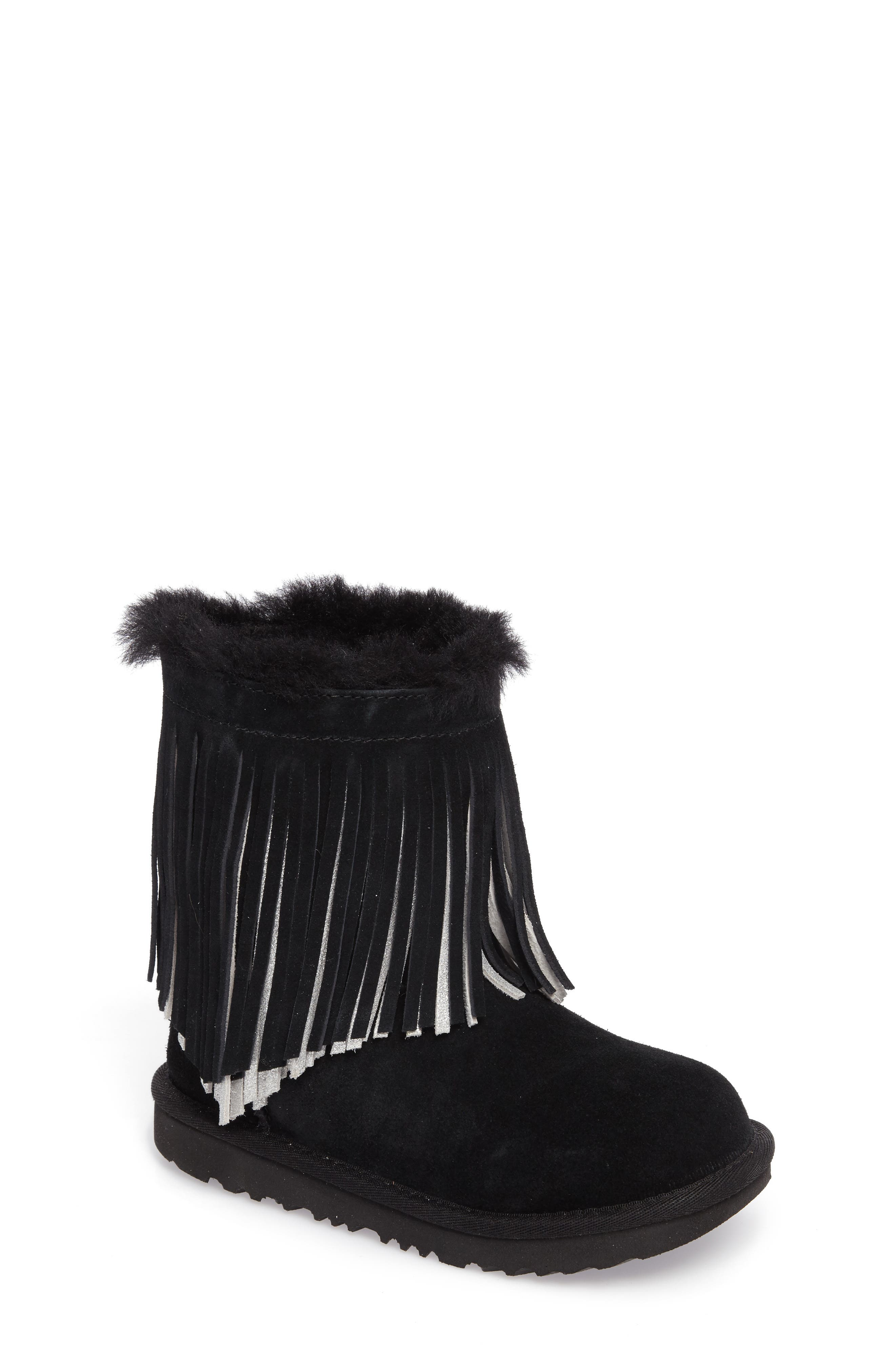 Classic II Short Fringe Water Resistant Genuine Shearling Boot,                             Main thumbnail 1, color,                             001
