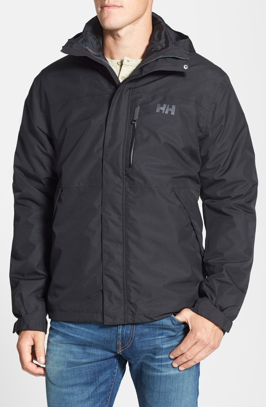 Squamish 3-in-1 Water Repellent Hooded Jacket,                         Main,                         color, BLACK