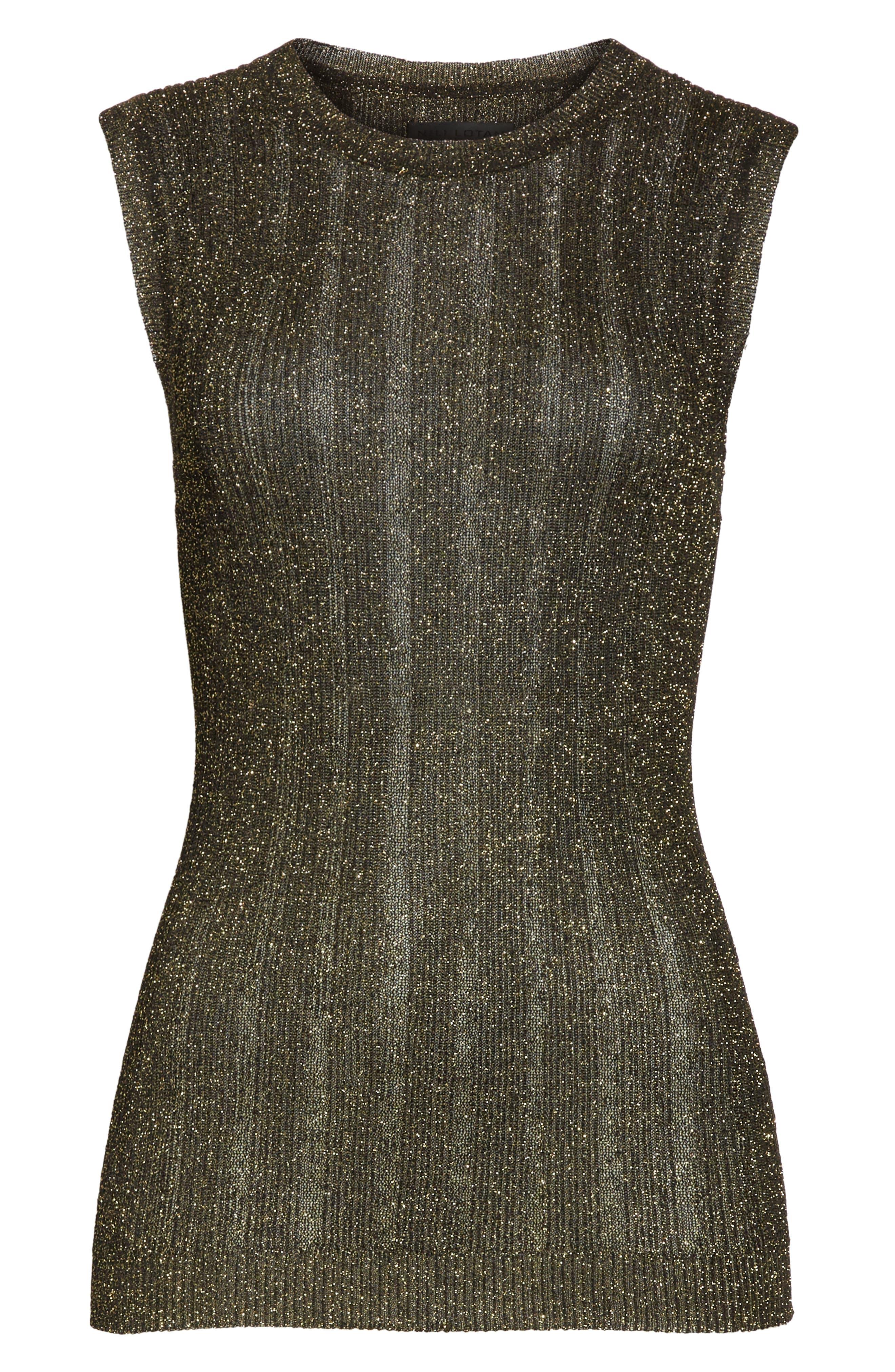 Lace Metallic Knit Top,                             Alternate thumbnail 6, color,                             011