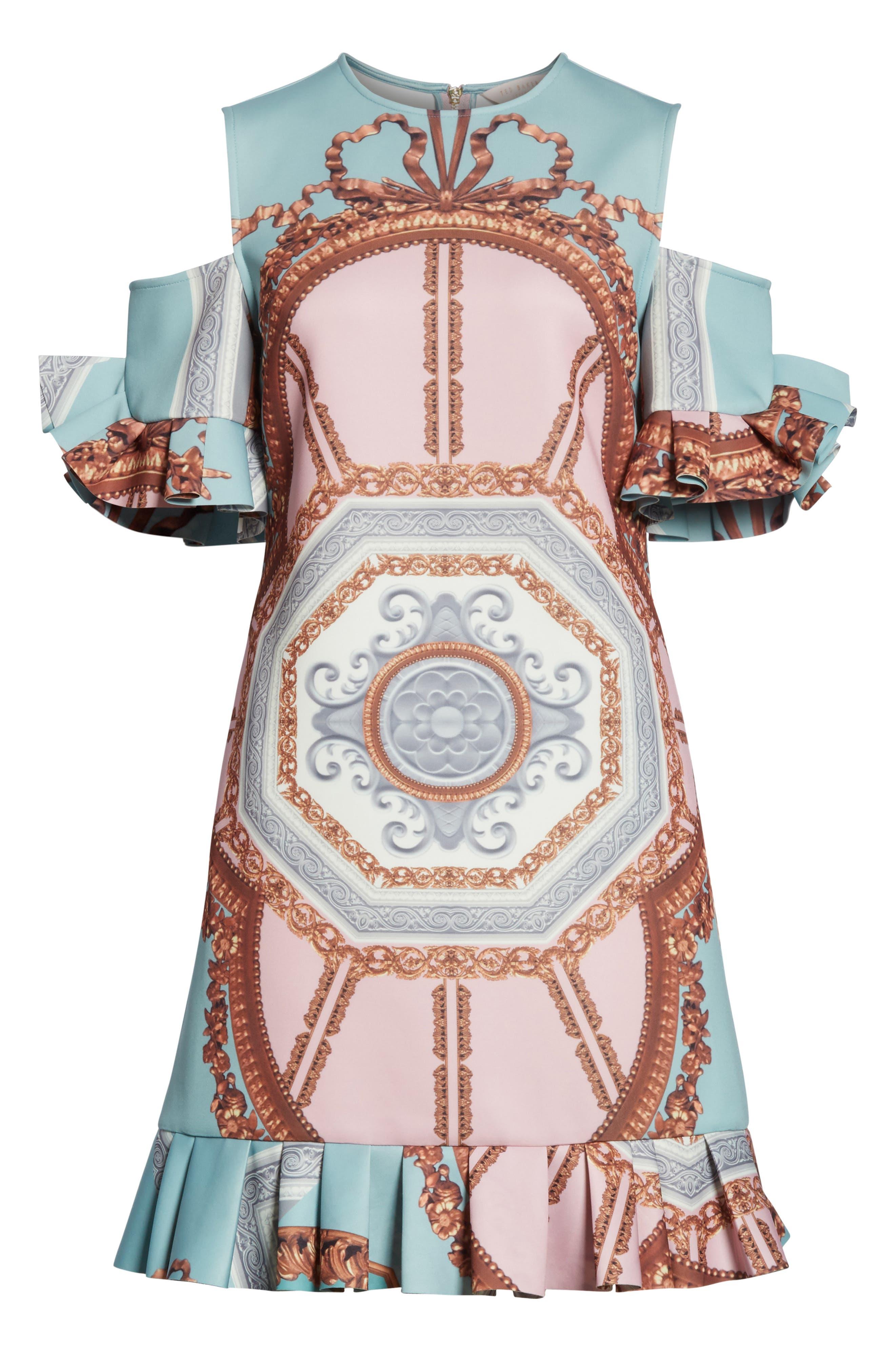 Norahe Versailles Cold Shoulder Dress,                             Alternate thumbnail 6, color,                             440