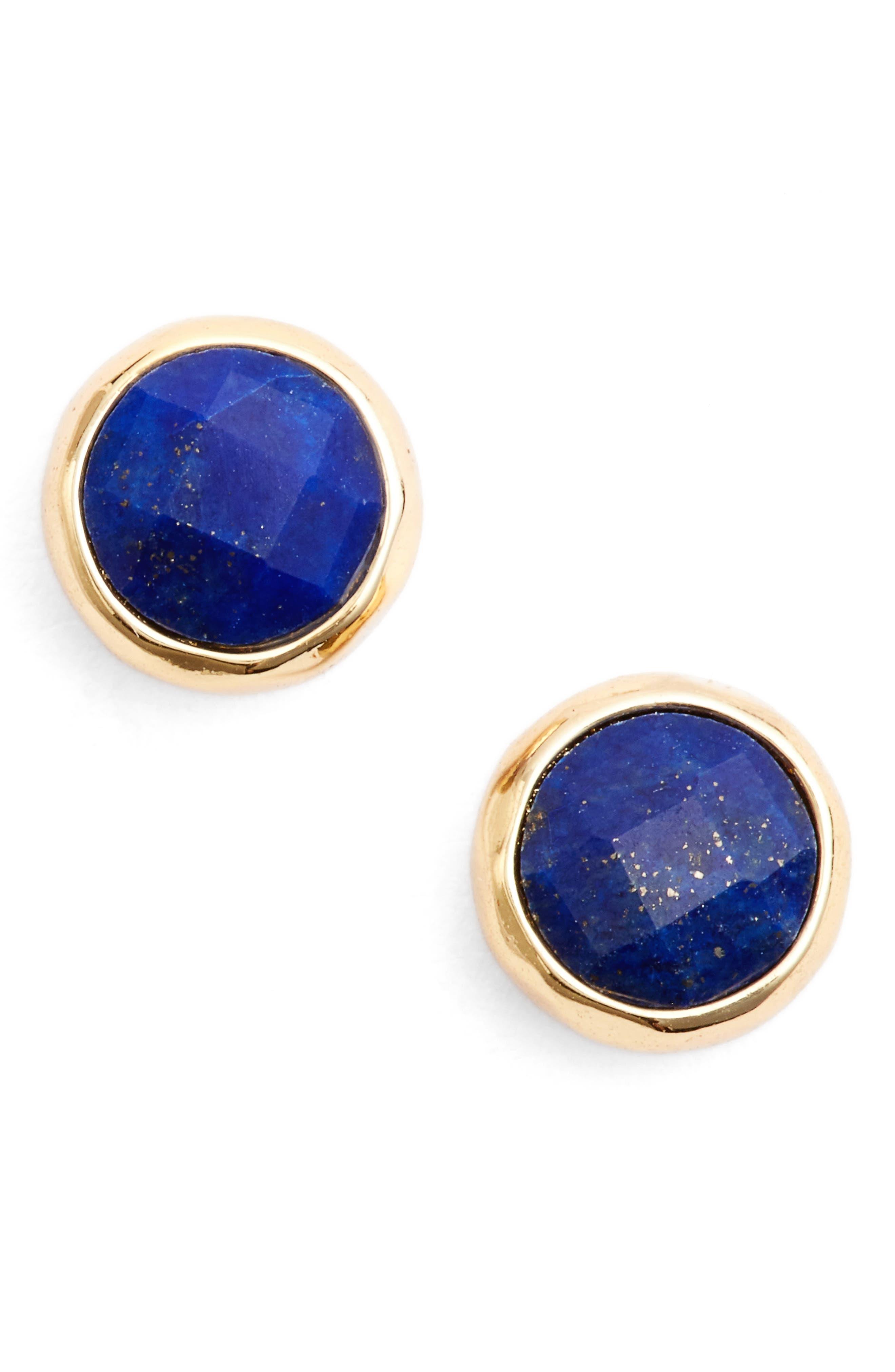 Wisdom Stud Earrings,                         Main,                         color, LAPIS/ GOLD