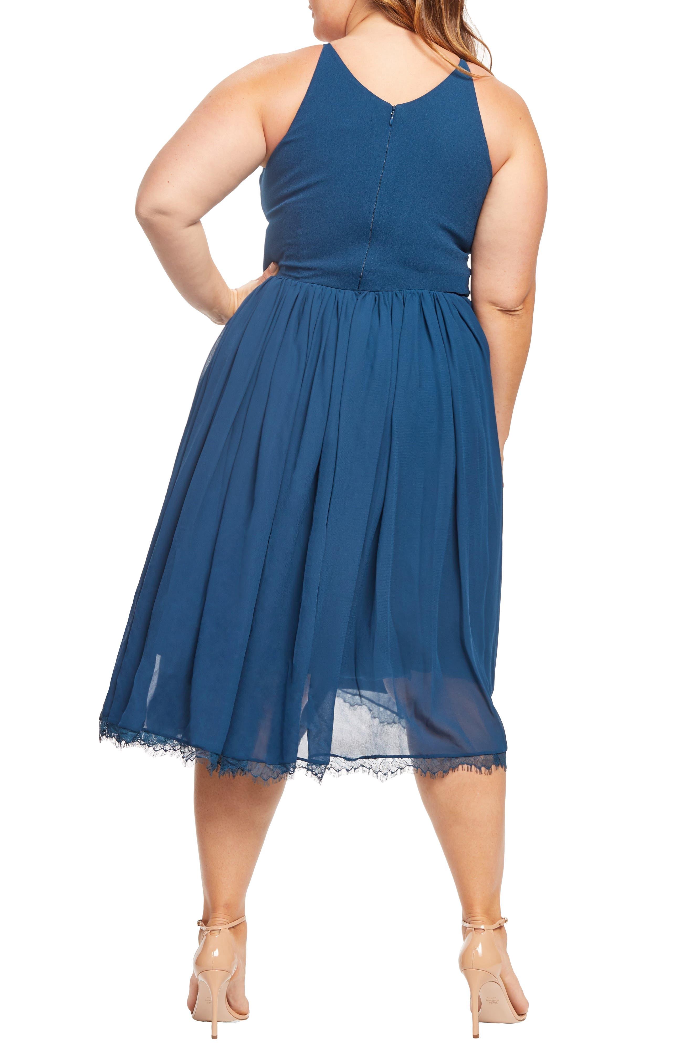 Alicia Mixed Media Midi Dress,                             Alternate thumbnail 2, color,                             PEACOCK BLUE