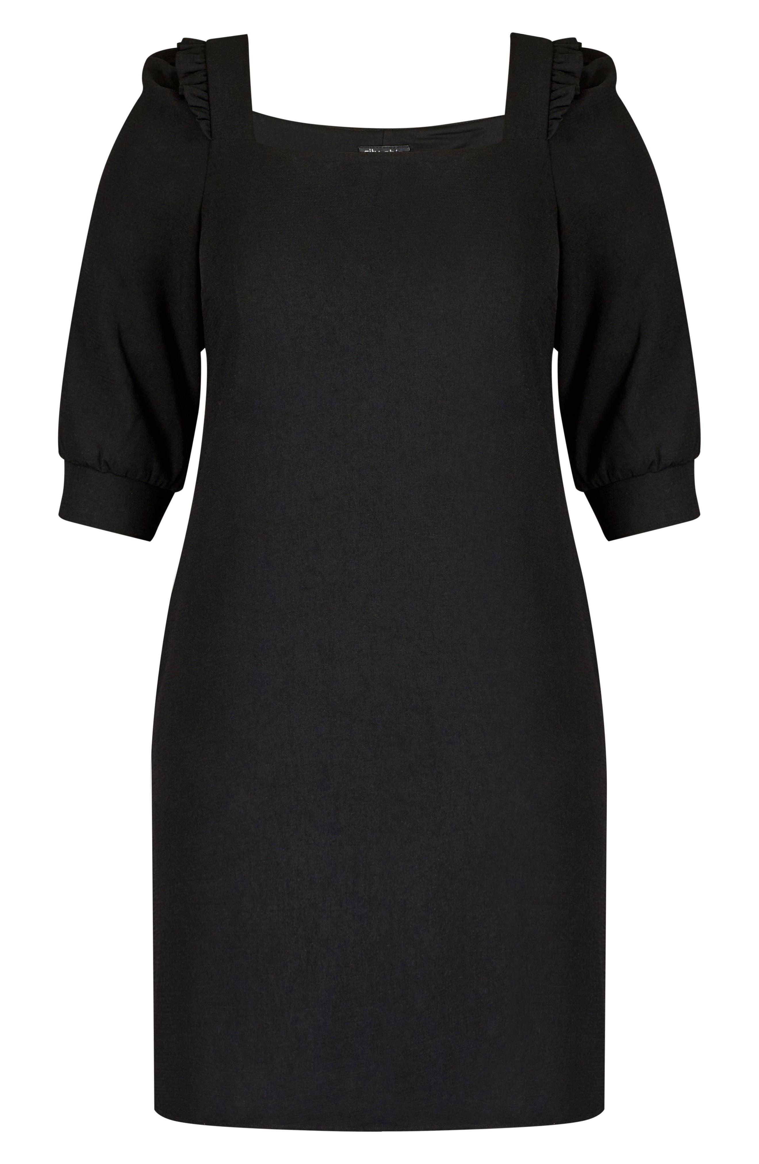Darling Square Neck Dress,                             Alternate thumbnail 3, color,                             BLACK