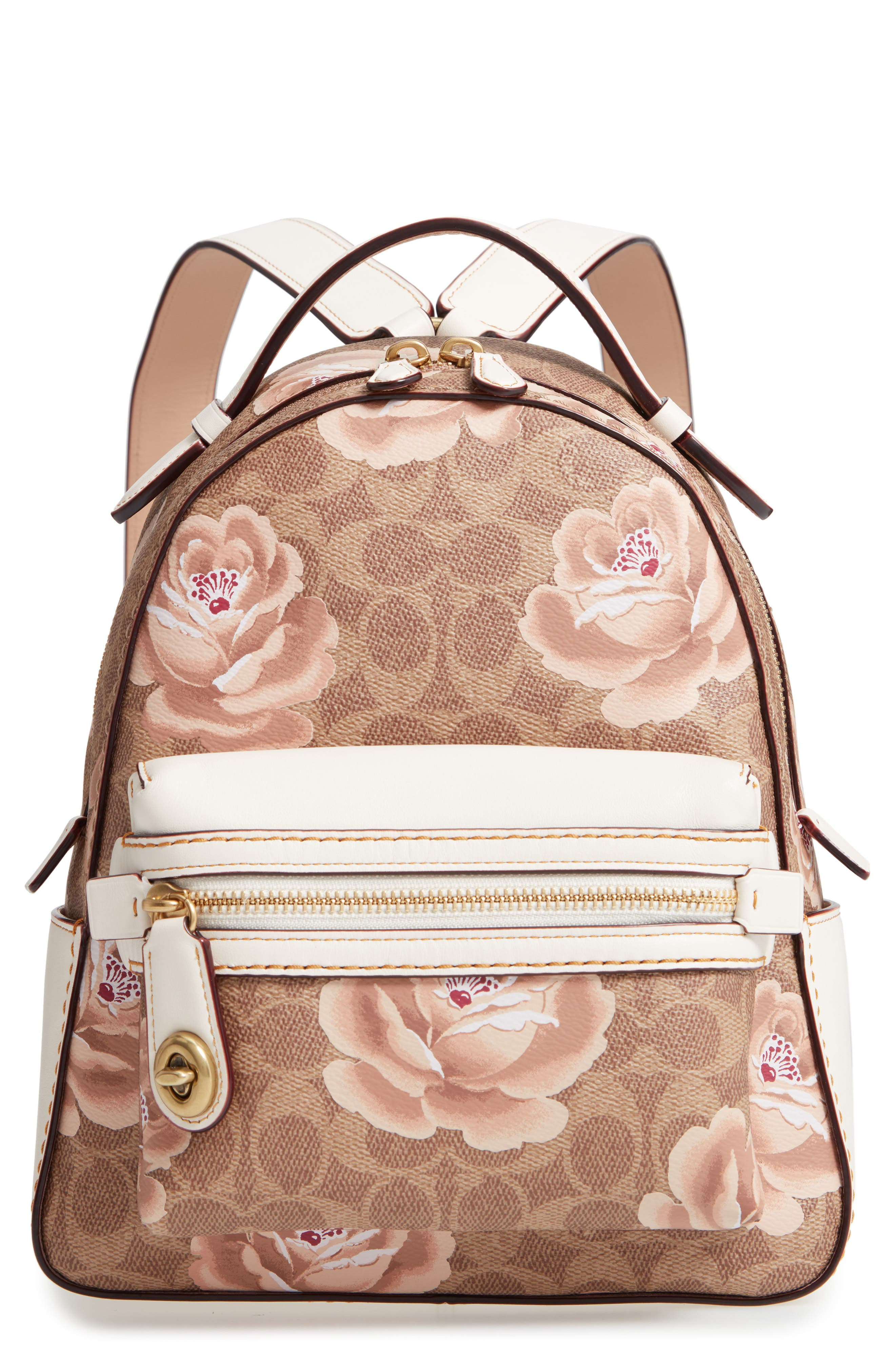 Campus Signature Rose Coated Canvas Backpack,                             Main thumbnail 1, color,                             TAN CHALK