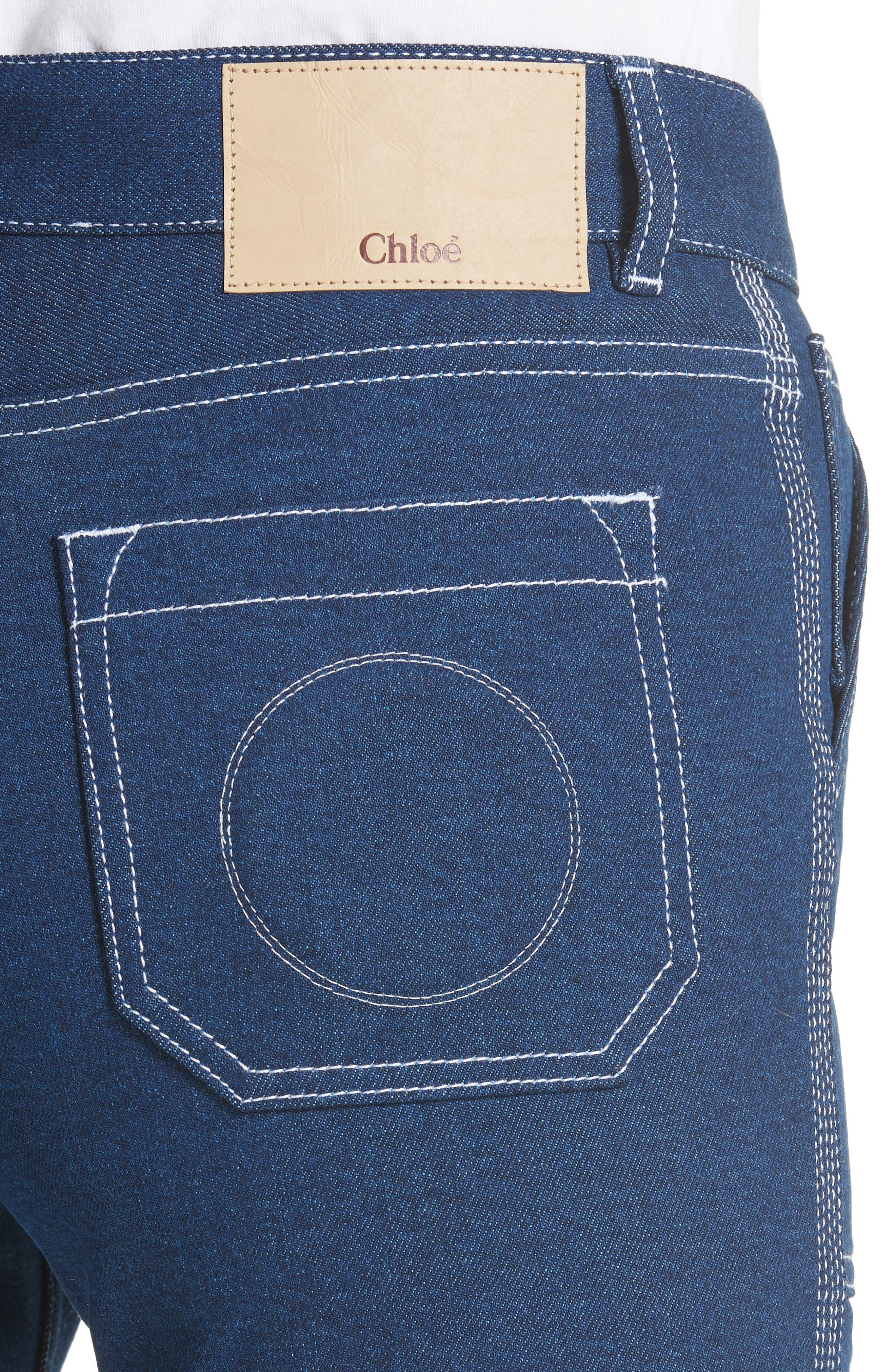 Contrast Circle Stitch Jeans,                             Alternate thumbnail 4, color,                             400