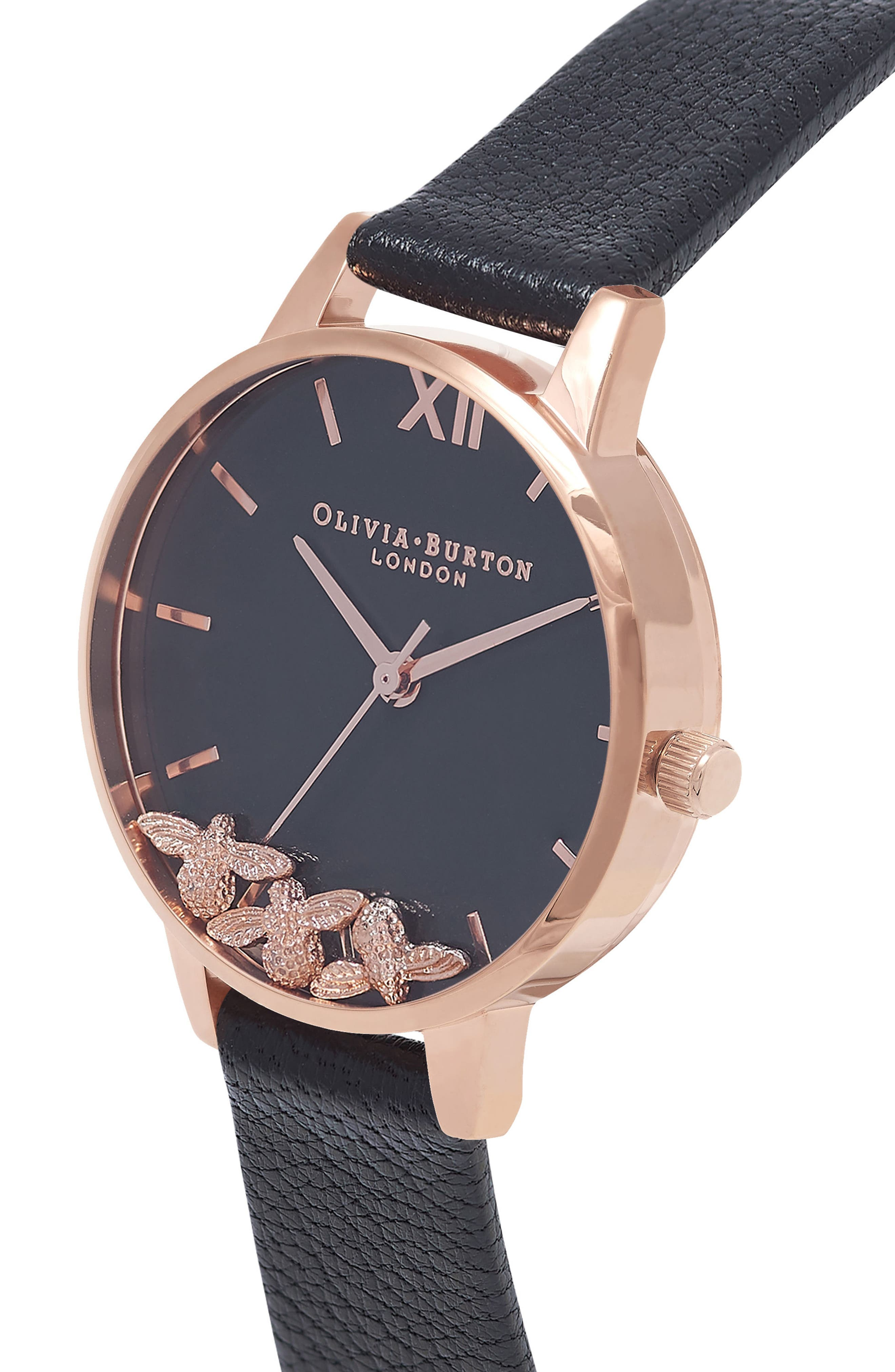 OLIVIA BURTON,                             Busy Bees Leather Strap Watch, 30mm,                             Alternate thumbnail 5, color,                             BLACK/ ROSE GOLD