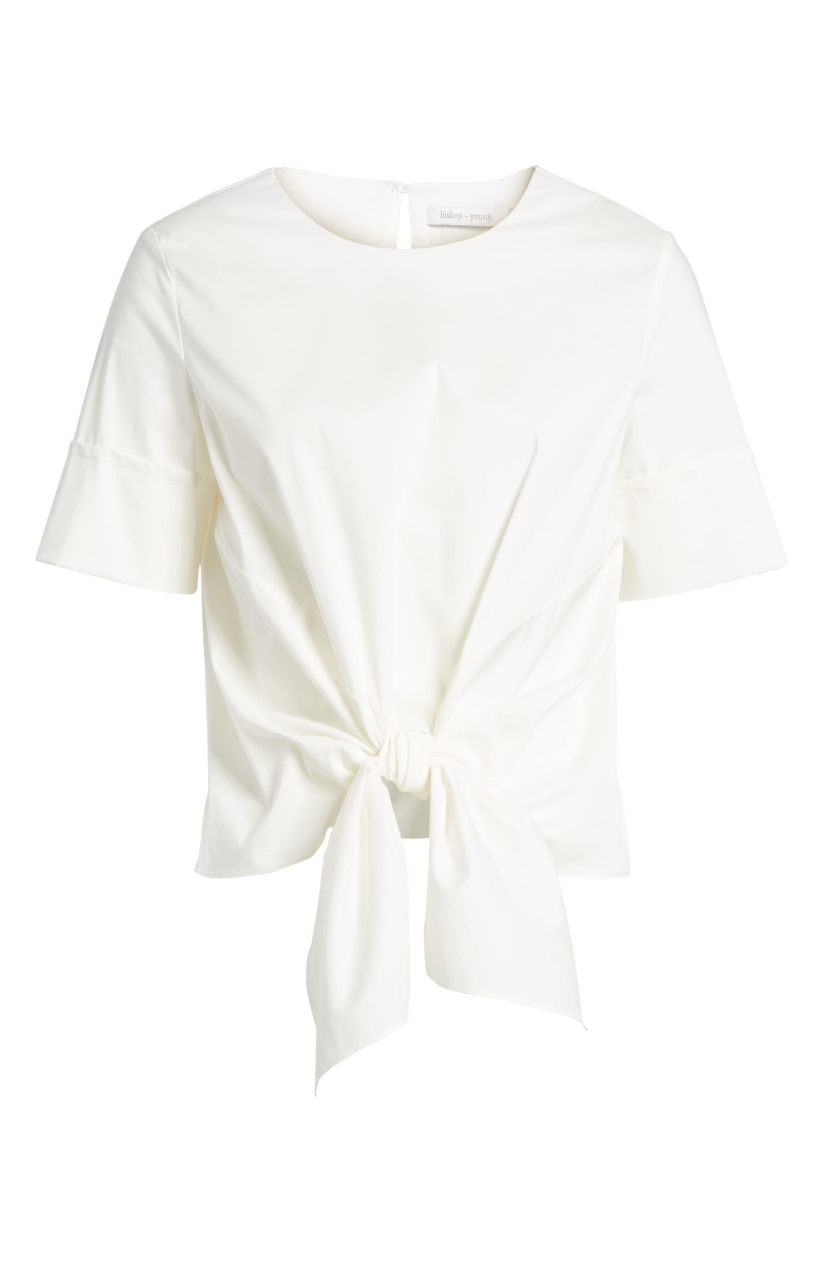 Bishop + Young Front Tie Blouse,                             Alternate thumbnail 7, color,                             WHITE