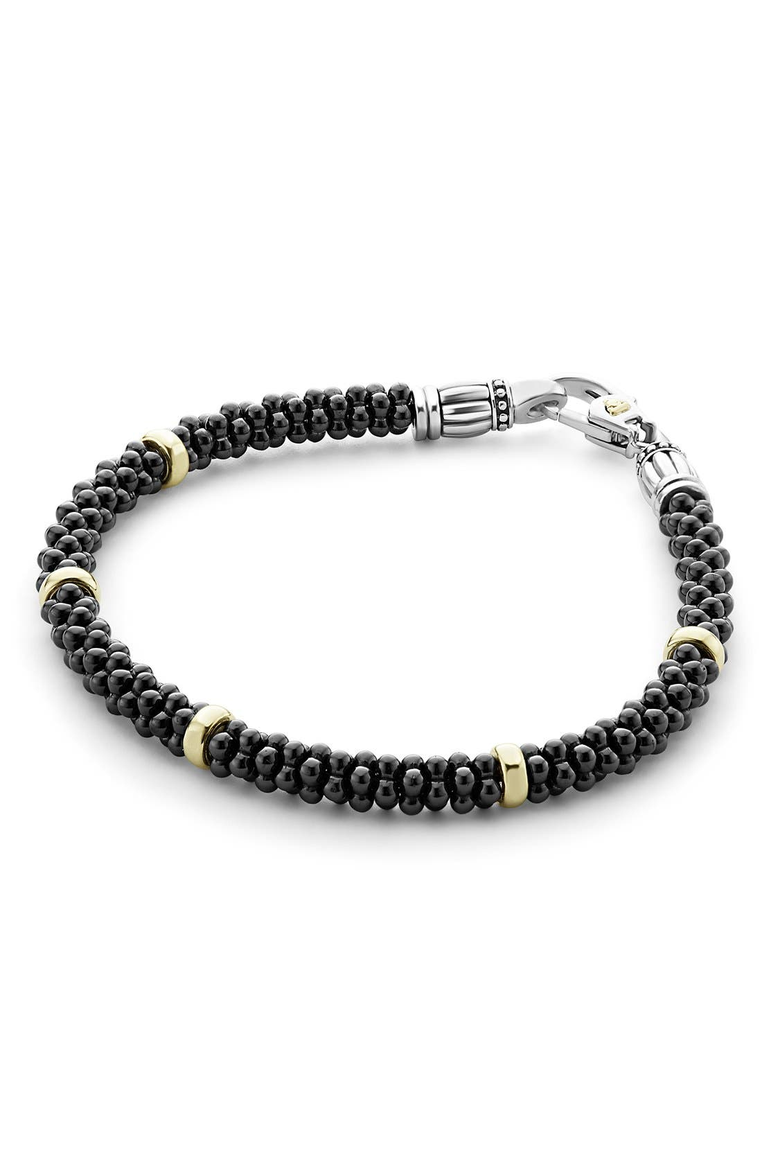 'Caviar Gold' Bracelet,                         Main,                         color, BLACK/ GOLD