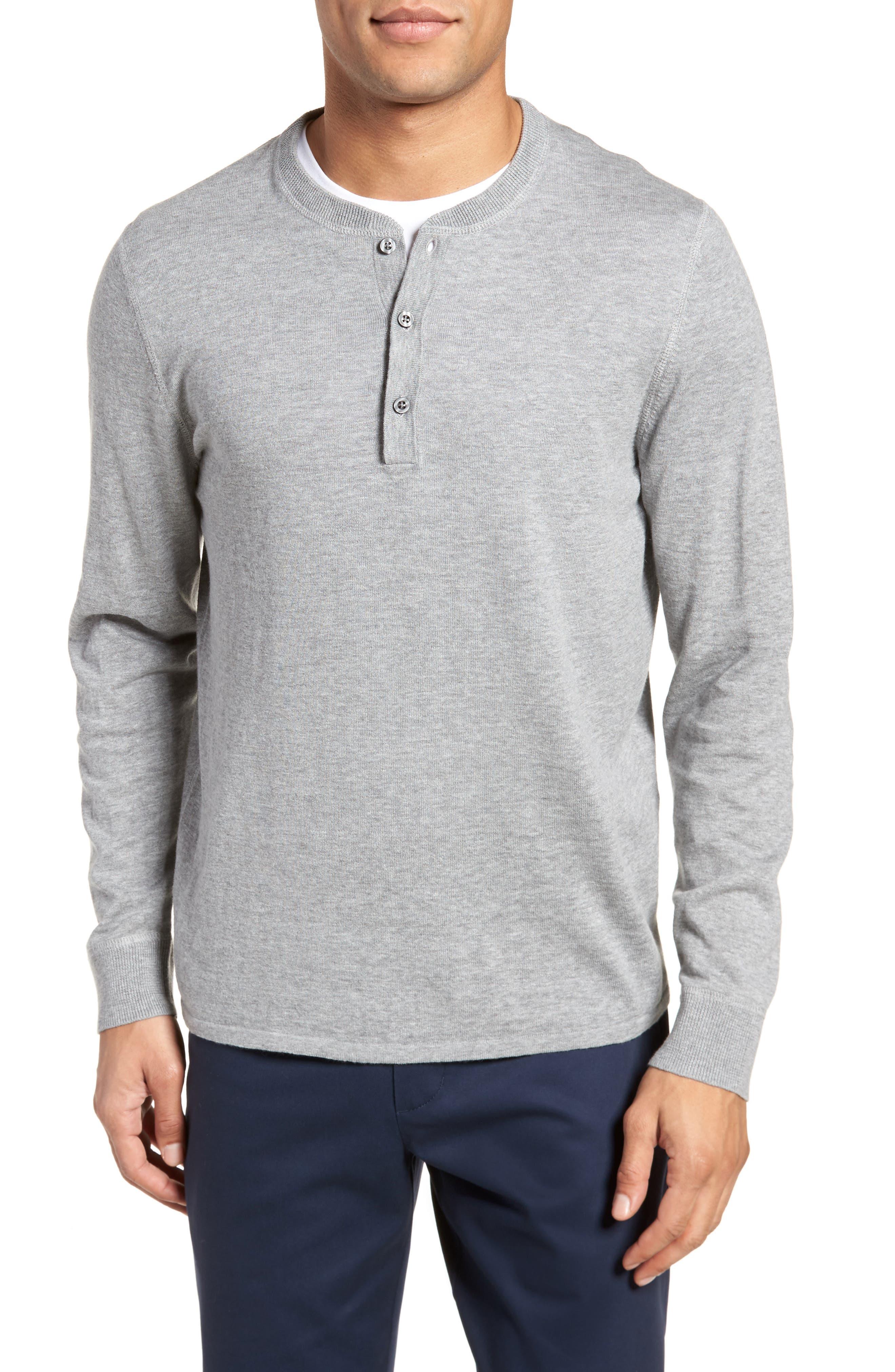 Long Sleeve Cotton & Linen Blend Henley,                         Main,                         color, 030