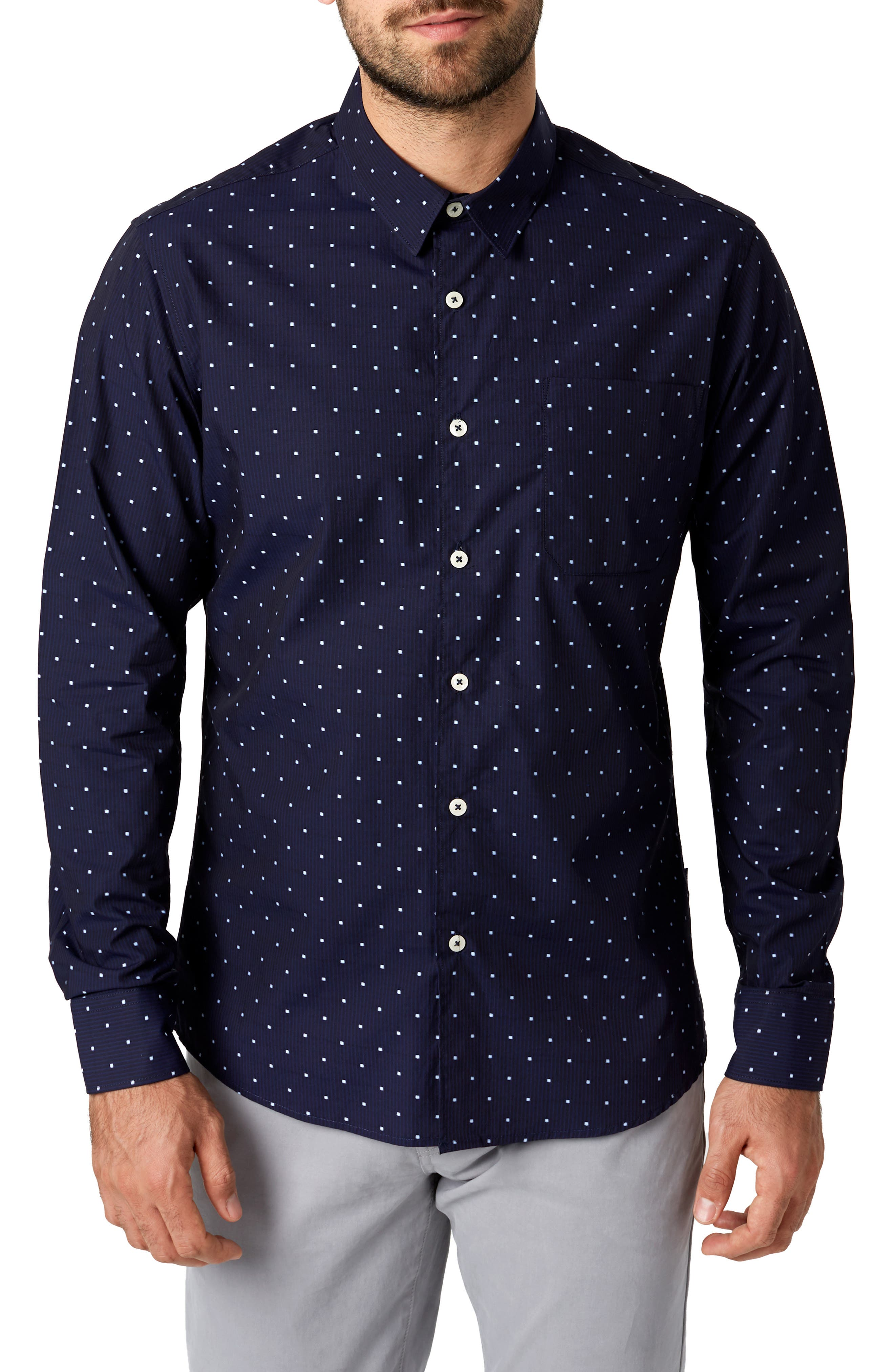 Lovers Rock Trim Fit Sport Shirt,                             Main thumbnail 1, color,                             NAVY