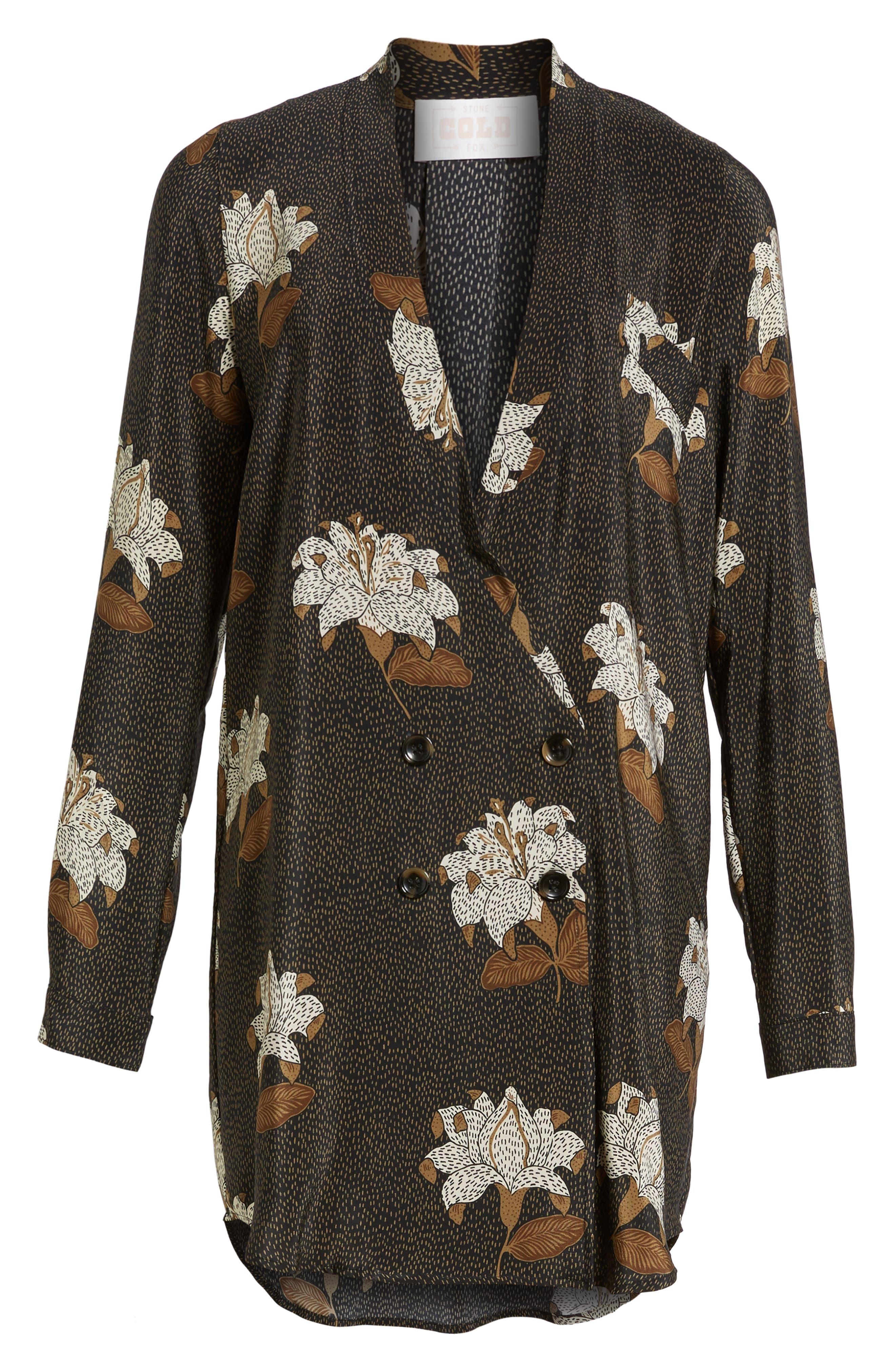 Rex Silk Jacket Dress,                             Alternate thumbnail 7, color,                             001