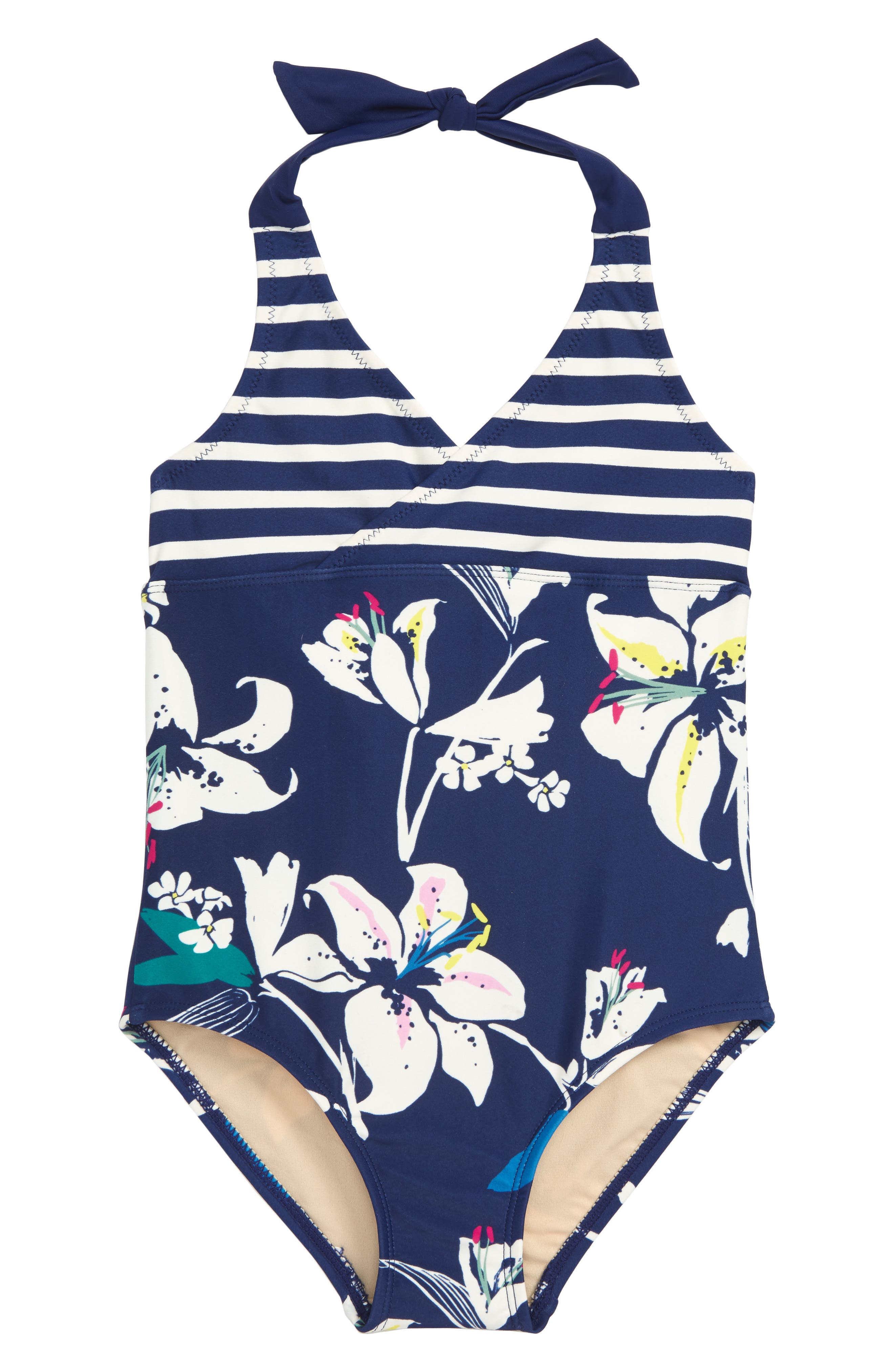 Girls Tea Collection Tropical Lilies OnePiece Swimsuit Size 10  Blue