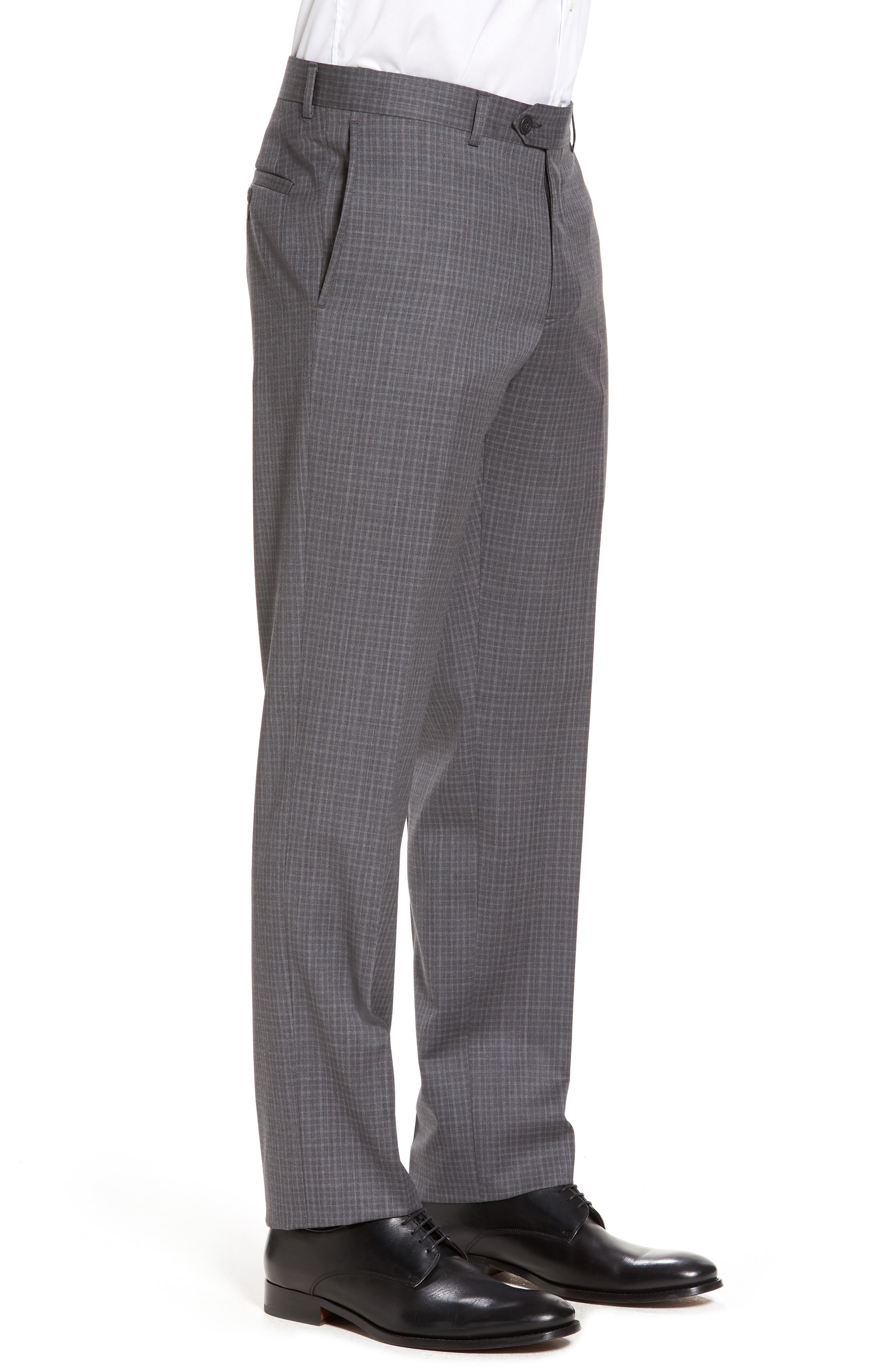 Flat Front Wool Trousers,                             Alternate thumbnail 4, color,                             099