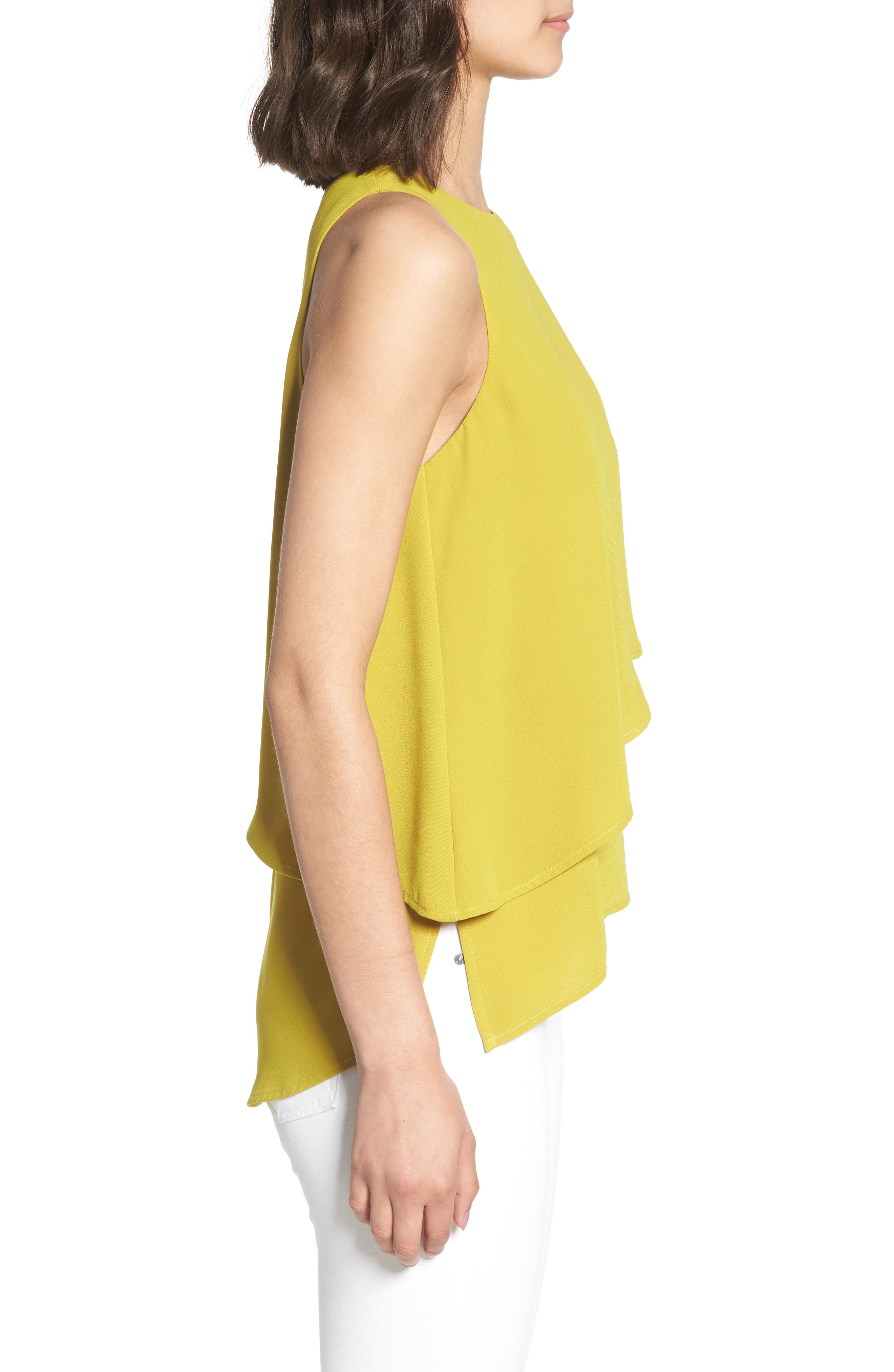 Tiered Sleeveless Top,                             Alternate thumbnail 3, color,                             OLIVE OIL