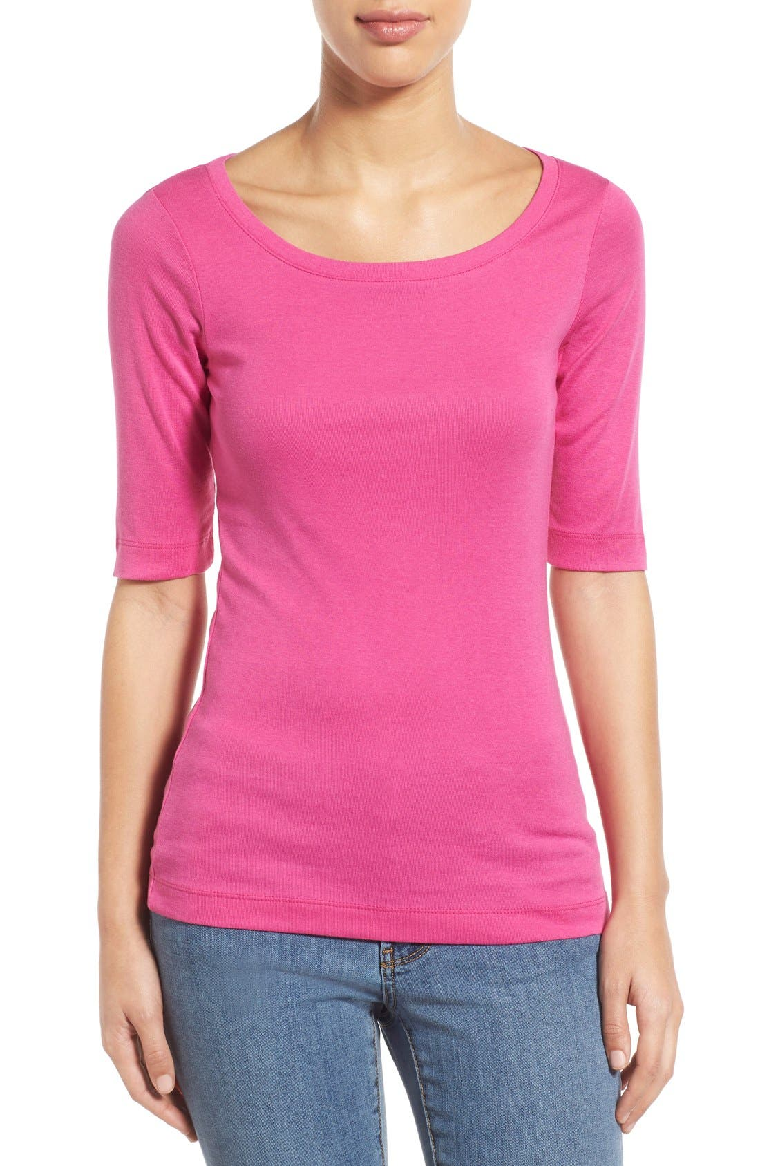 Ballet Neck Cotton & Modal Knit Elbow Sleeve Tee,                             Main thumbnail 49, color,