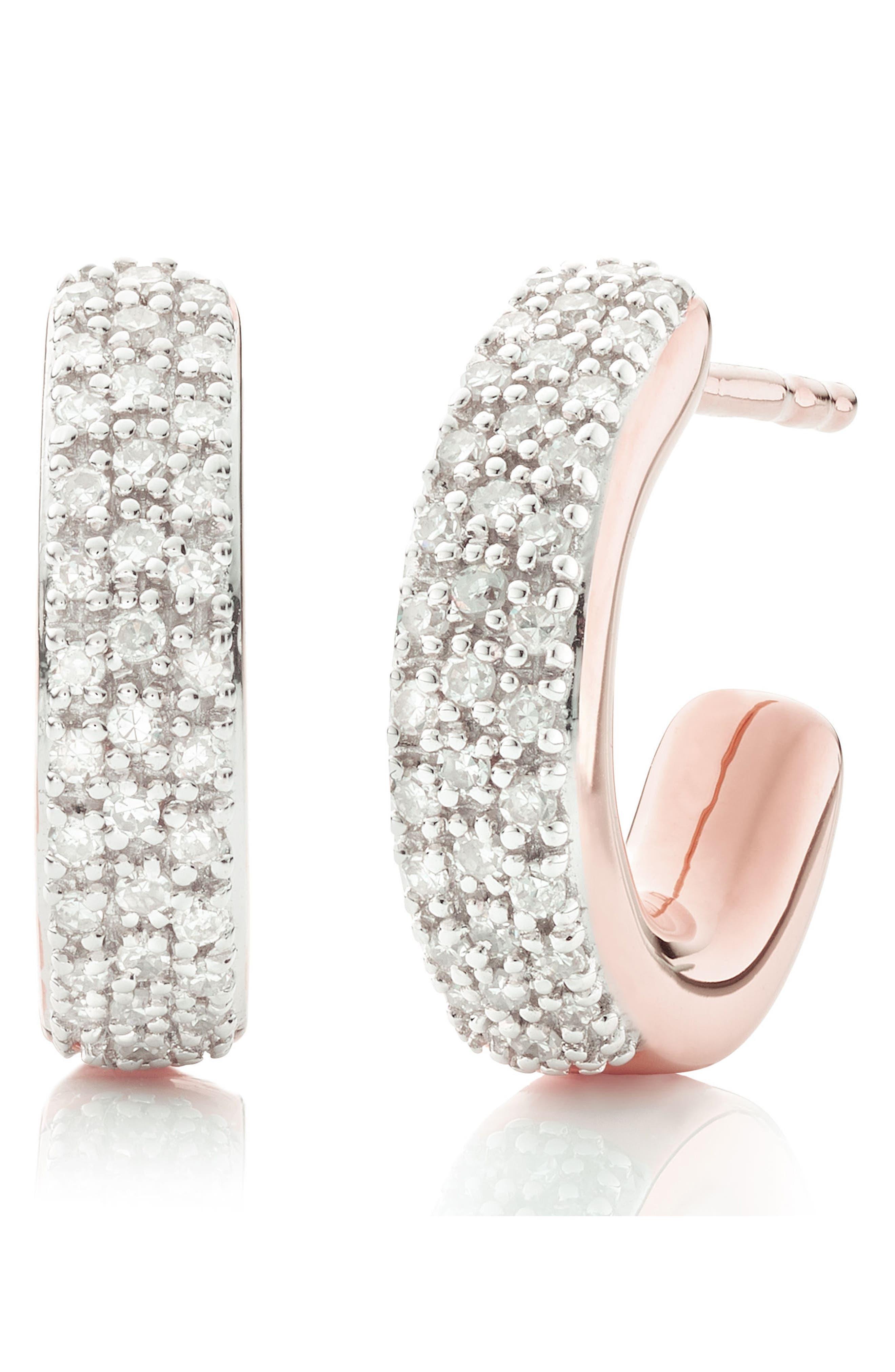 Fiji Mini Diamond Hoop Earrings,                             Main thumbnail 1, color,                             ROSE GOLD