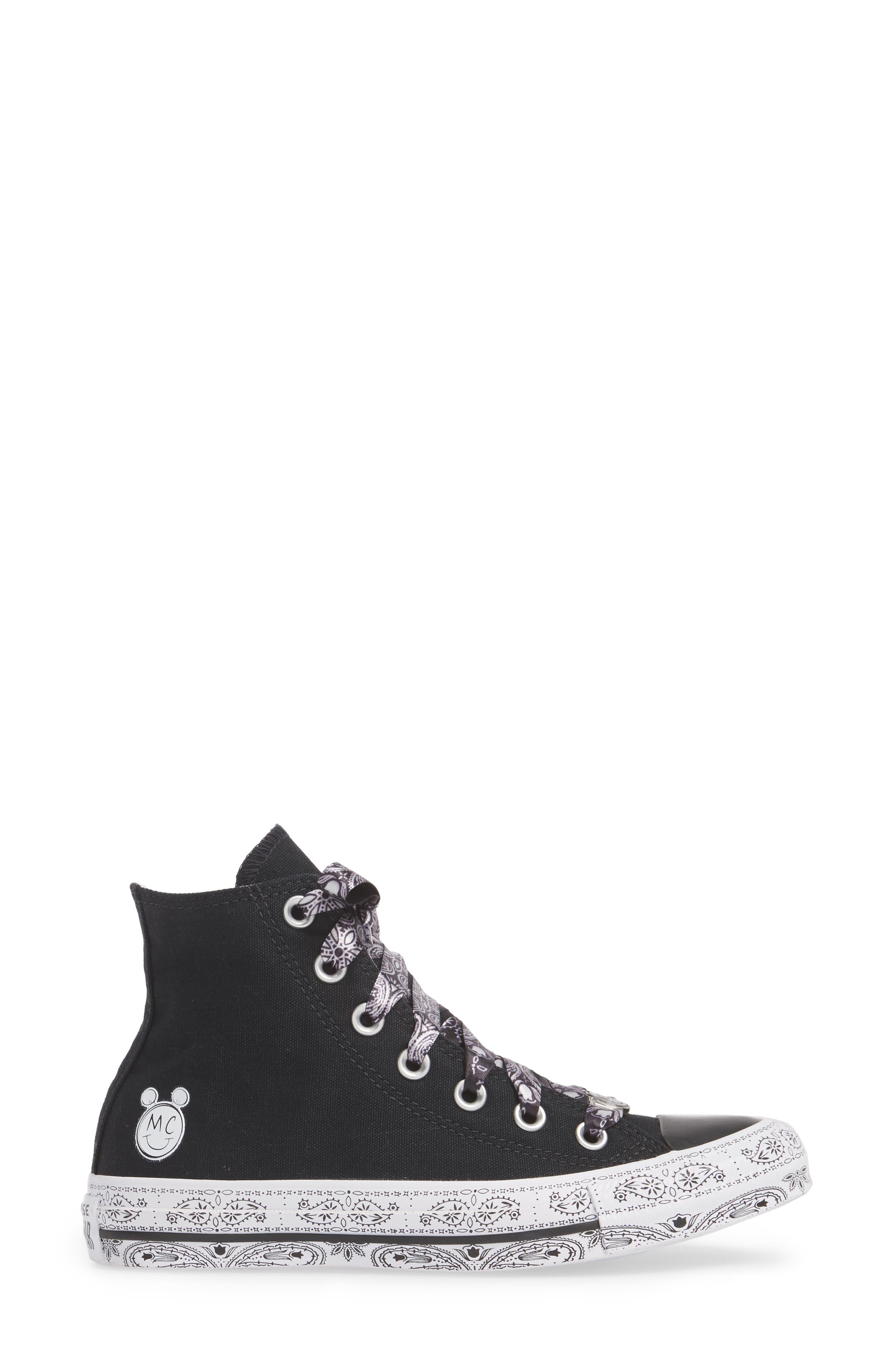 CONVERSE,                             x Miley Cyrus Chuck Taylor All Star Bandana High Top Sneaker,                             Alternate thumbnail 3, color,                             001