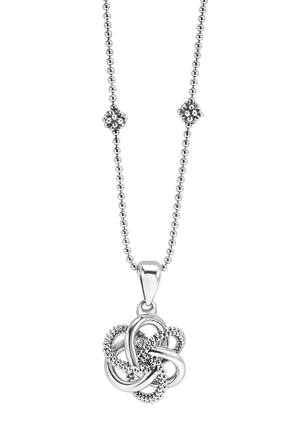 'Love Knot' Pendant Necklace,                             Main thumbnail 1, color,                             STERLING SILVER