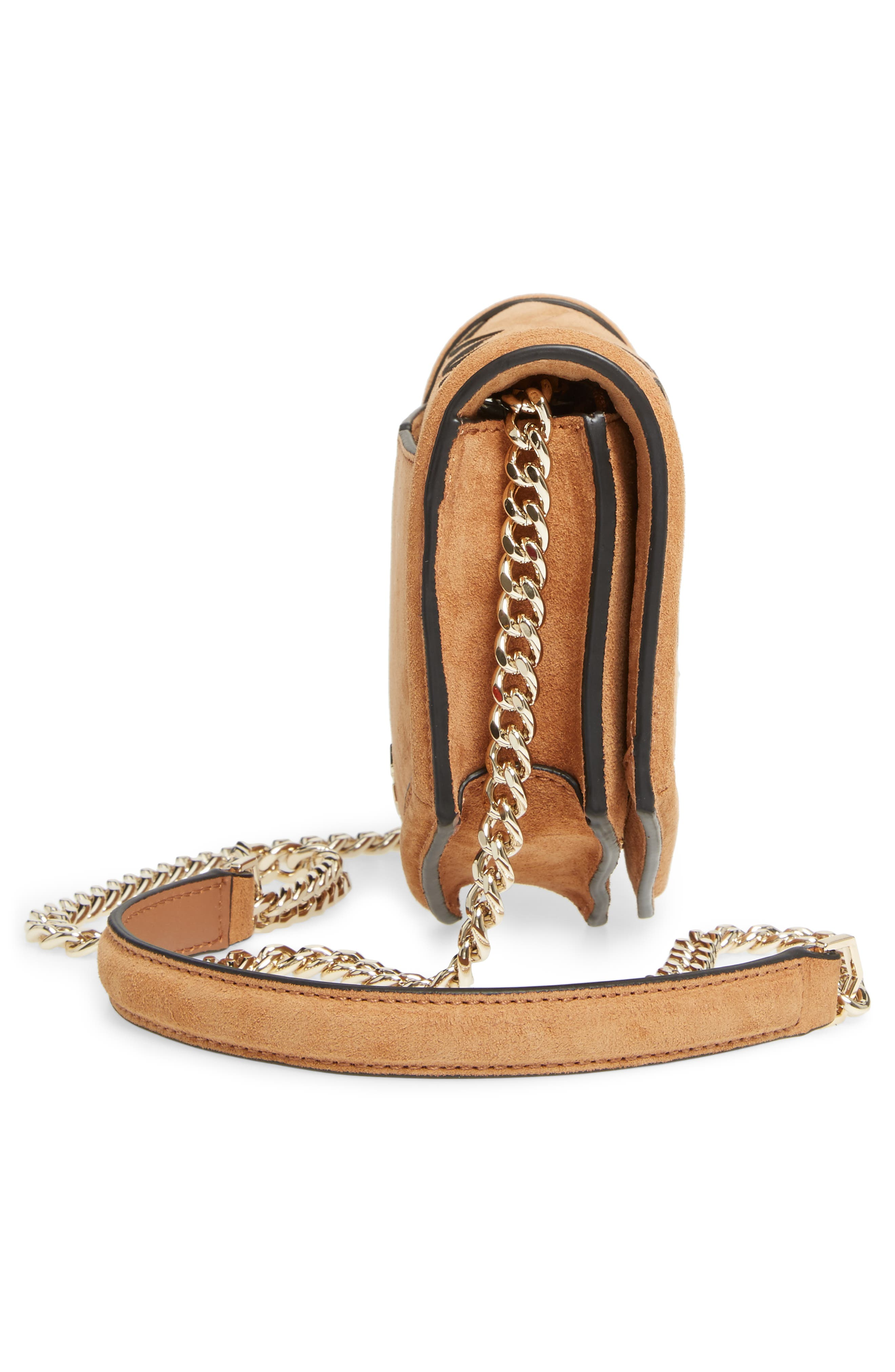 Jaunt Woven Calfskin Suede Wallet on a Chain,                             Alternate thumbnail 5, color,                             200