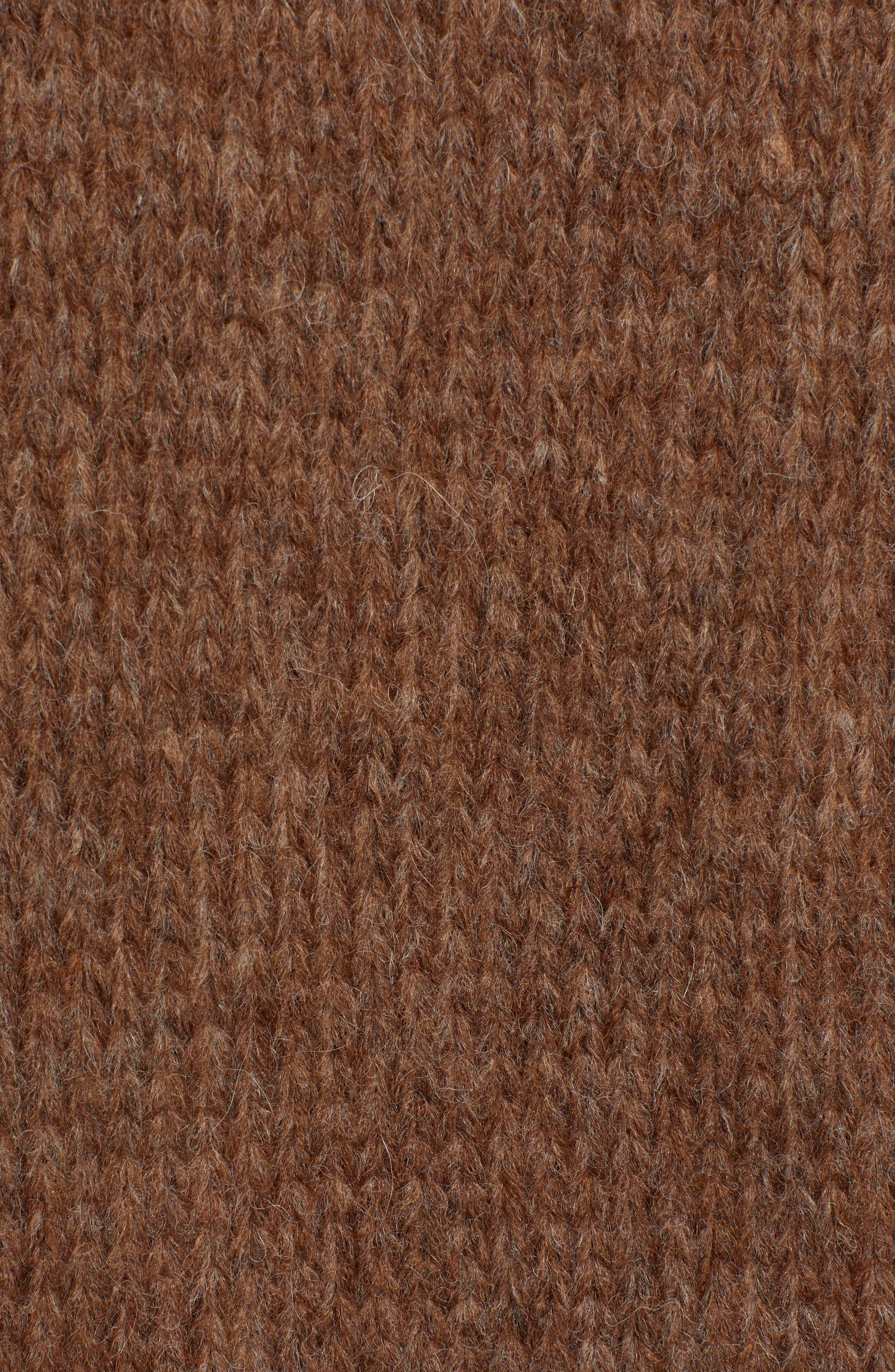 Alpaca Wool Blend Cardigan,                             Alternate thumbnail 5, color,                             CHOCOLATE