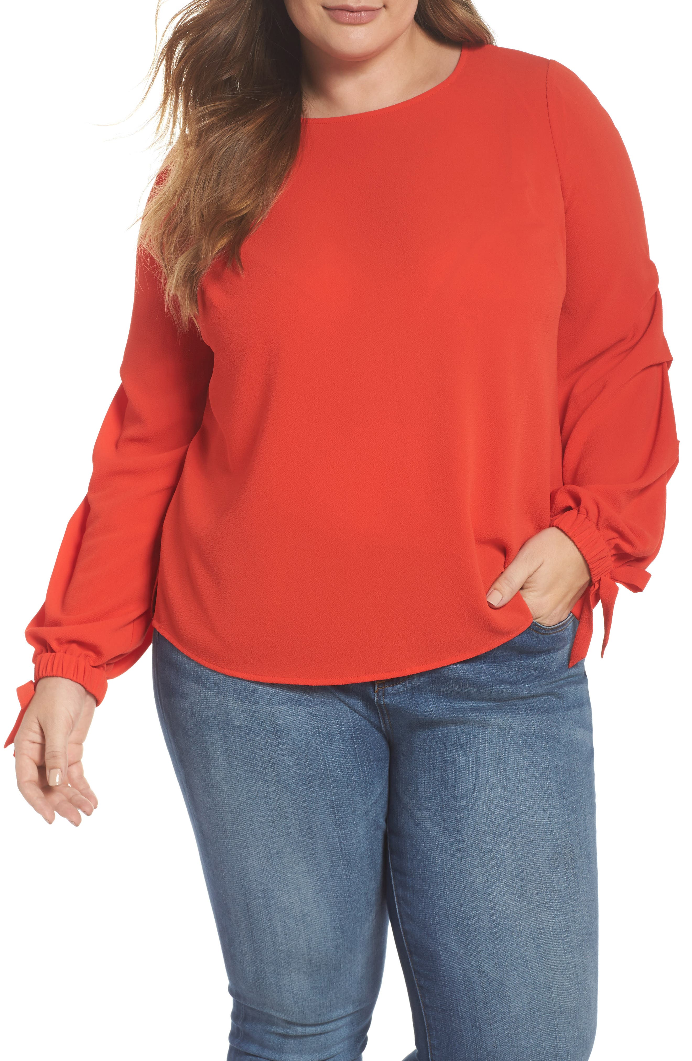 Tiered Tie Cuff Crepe Blouse,                             Main thumbnail 1, color,
