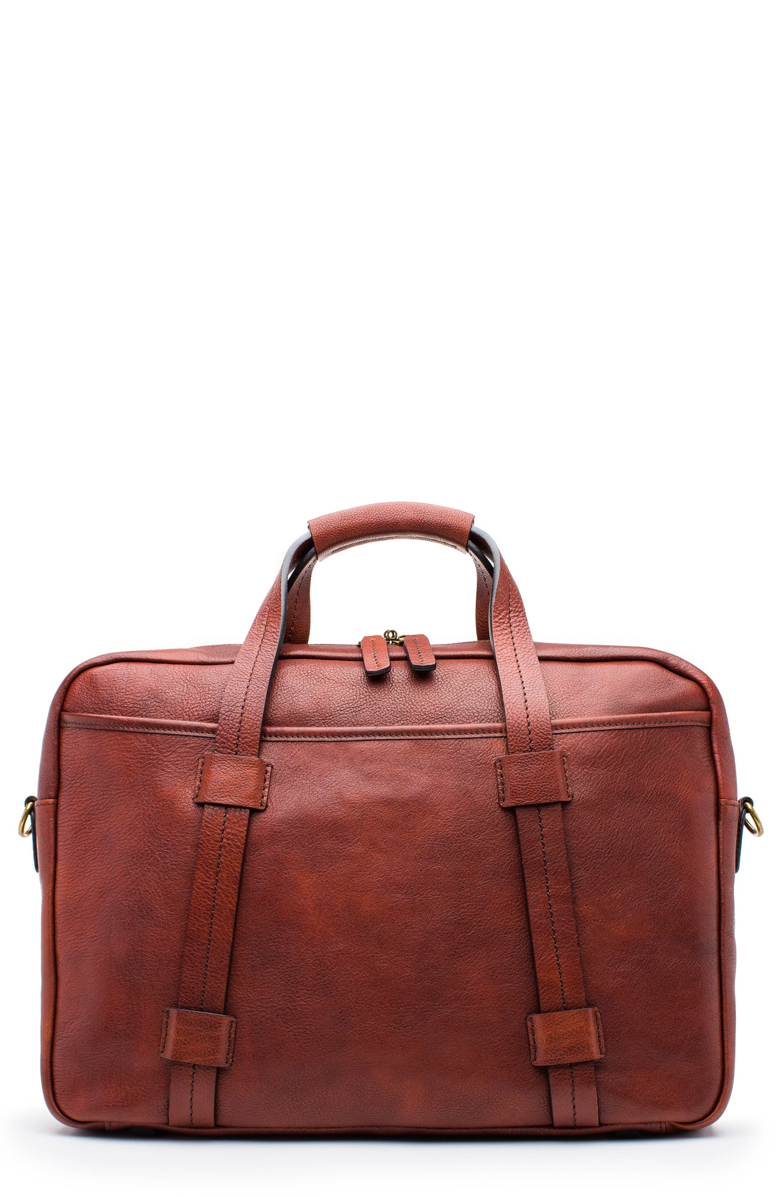 Leather Briefcase,                         Main,                         color, DARK BROWN