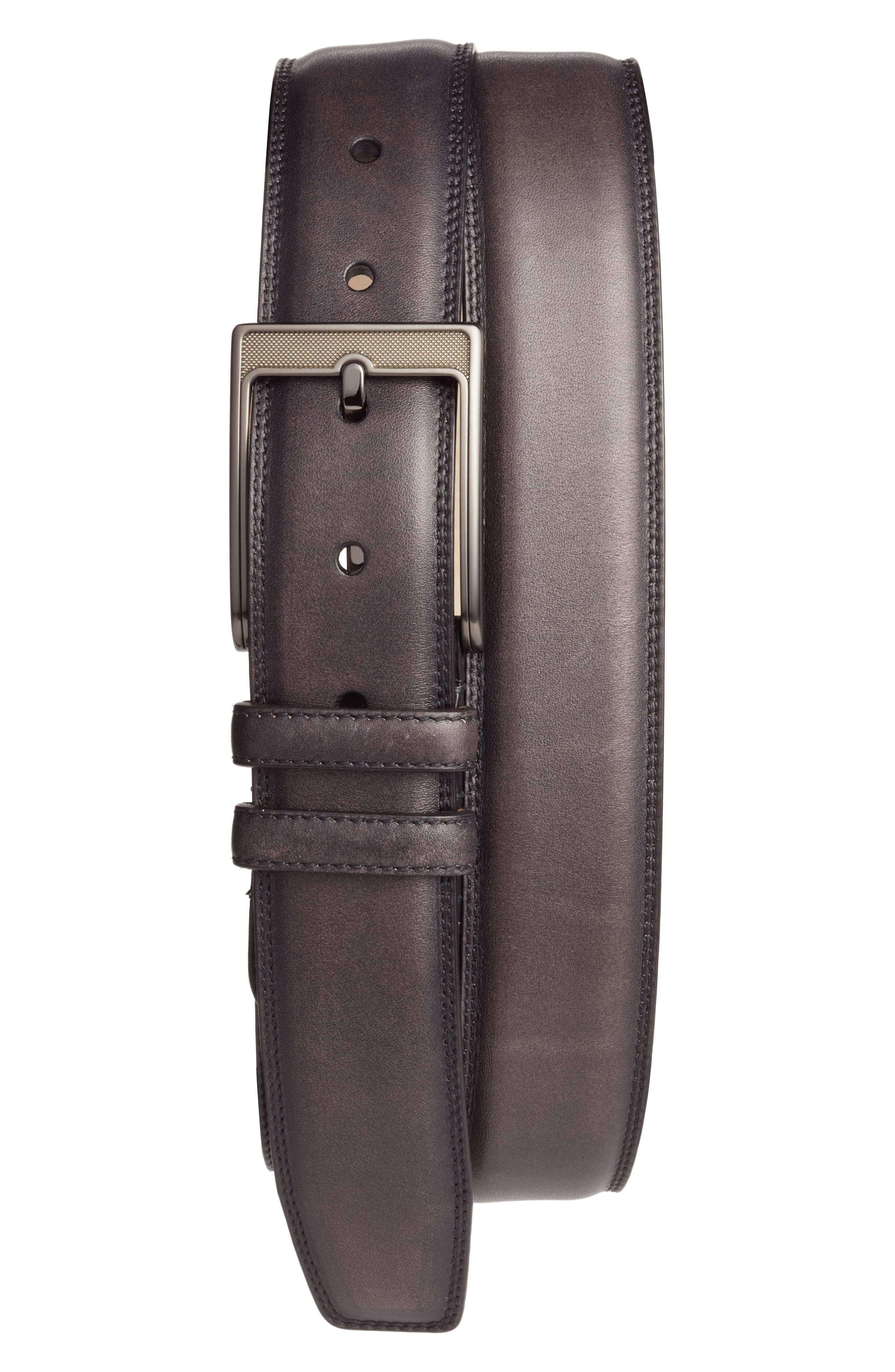 Tequila Leather Belt,                             Main thumbnail 1, color,                             BLACK