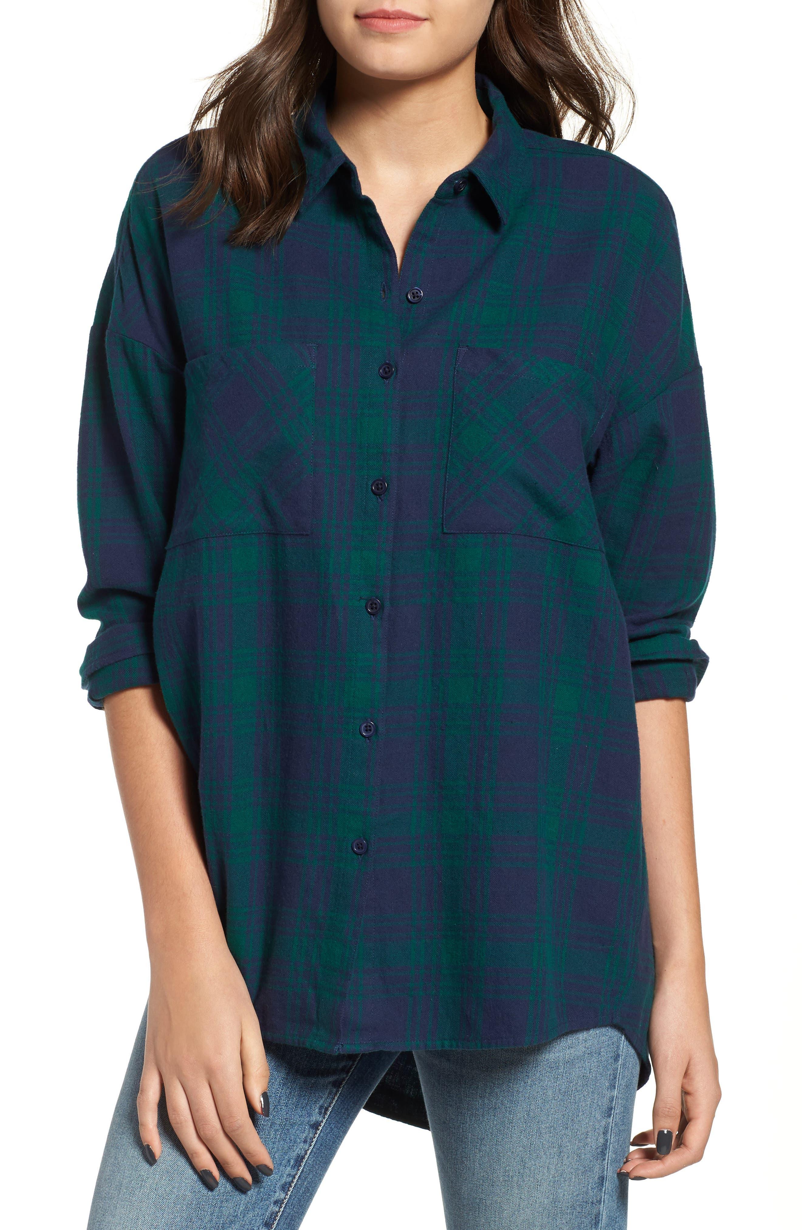 Bp. Plaid Flannel Cocoon Shirt, Blue