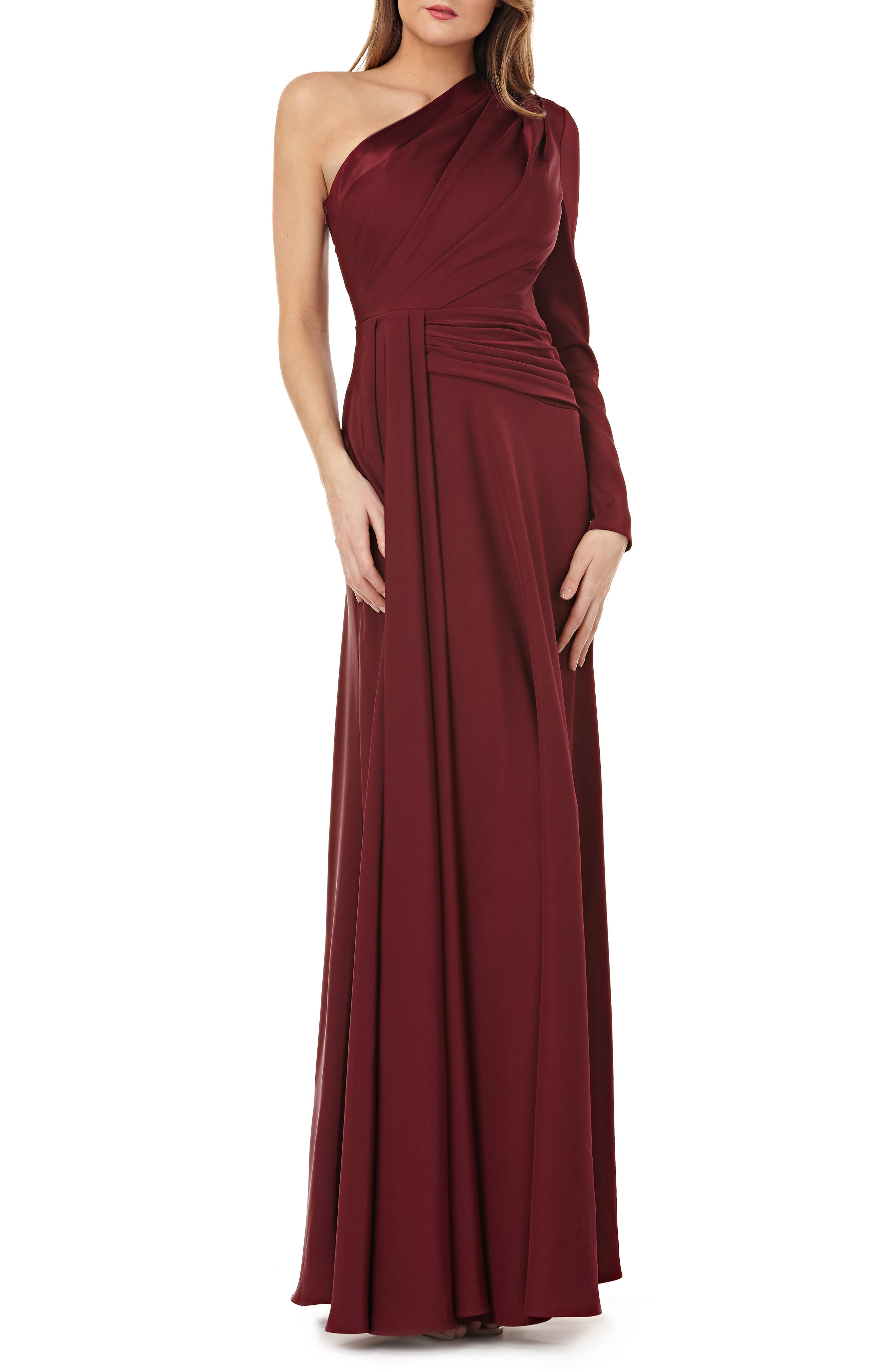 KAY UNGER One-Shoulder Gown W/ Draped Sash in Majestic Wine