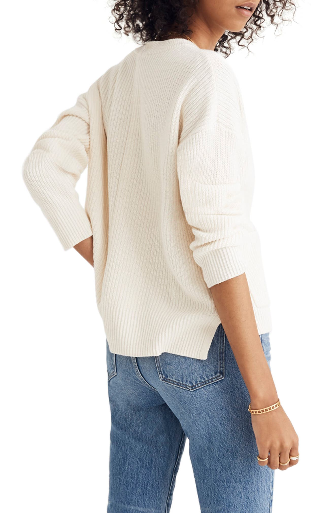 Patch Pocket Pullover Sweater,                             Alternate thumbnail 3, color,                             BRIGHT IVORY